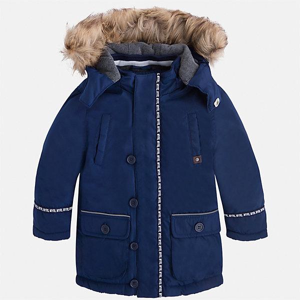 Куртка для мальчика MayoralВерхняя одежда<br>Характеристики товара:<br><br>• цвет: синий<br>• состав ткани: 100% полиэстер<br>• подкладка: 100% полиэстер<br>• утеплитель: 100% полиэстер<br>• сезон: демисезон<br>• температурный режим: от -10 до +10<br>• особенности куртки: с капюшоном<br>• капюшон: с опушкой<br>• застежка: молния<br>• страна бренда: Испания<br>• страна изготовитель: Индия<br><br>Эта демисезонная куртка для мальчика от Майорал поможет обеспечить ребенку комфорт и тепло. Детская куртка с капюшоном отличается модным и продуманным дизайном. В куртке для мальчика от испанской компании Майорал ребенок будет выглядеть модно, а чувствовать себя - комфортно. <br><br>Куртку для мальчика Mayoral (Майорал) можно купить в нашем интернет-магазине.<br>Ширина мм: 356; Глубина мм: 10; Высота мм: 245; Вес г: 519; Цвет: синий; Возраст от месяцев: 18; Возраст до месяцев: 24; Пол: Мужской; Возраст: Детский; Размер: 92,134,128,122,116,110,104,98; SKU: 6934724;