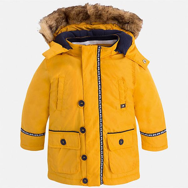 Куртка для мальчика MayoralВерхняя одежда<br>Характеристики товара:<br><br>• цвет: оранжевый<br>• состав ткани: 100% полиэстер<br>• подкладка: 100% полиэстер<br>• утеплитель: 100% полиэстер<br>• сезон: демисезон<br>• температурный режим: от -10 до +10<br>• особенности куртки: с капюшоном<br>• капюшон: с опушкой<br>• застежка: молния<br>• страна бренда: Испания<br>• страна изготовитель: Индия<br><br>Яркая демисезонная детская куртка подойдет для переменной погоды. Отличный способ обеспечить ребенку тепло и комфорт - надеть теплую куртку от Mayoral. Детская куртка сшита из приятного на ощупь материала. Куртка для мальчика Mayoral дополнена теплой подкладкой.<br><br>Куртку для мальчика Mayoral (Майорал) можно купить в нашем интернет-магазине.<br>Ширина мм: 356; Глубина мм: 10; Высота мм: 245; Вес г: 519; Цвет: оранжевый; Возраст от месяцев: 18; Возраст до месяцев: 24; Пол: Мужской; Возраст: Детский; Размер: 92,134,128,122,116,110,104,98; SKU: 6934733;