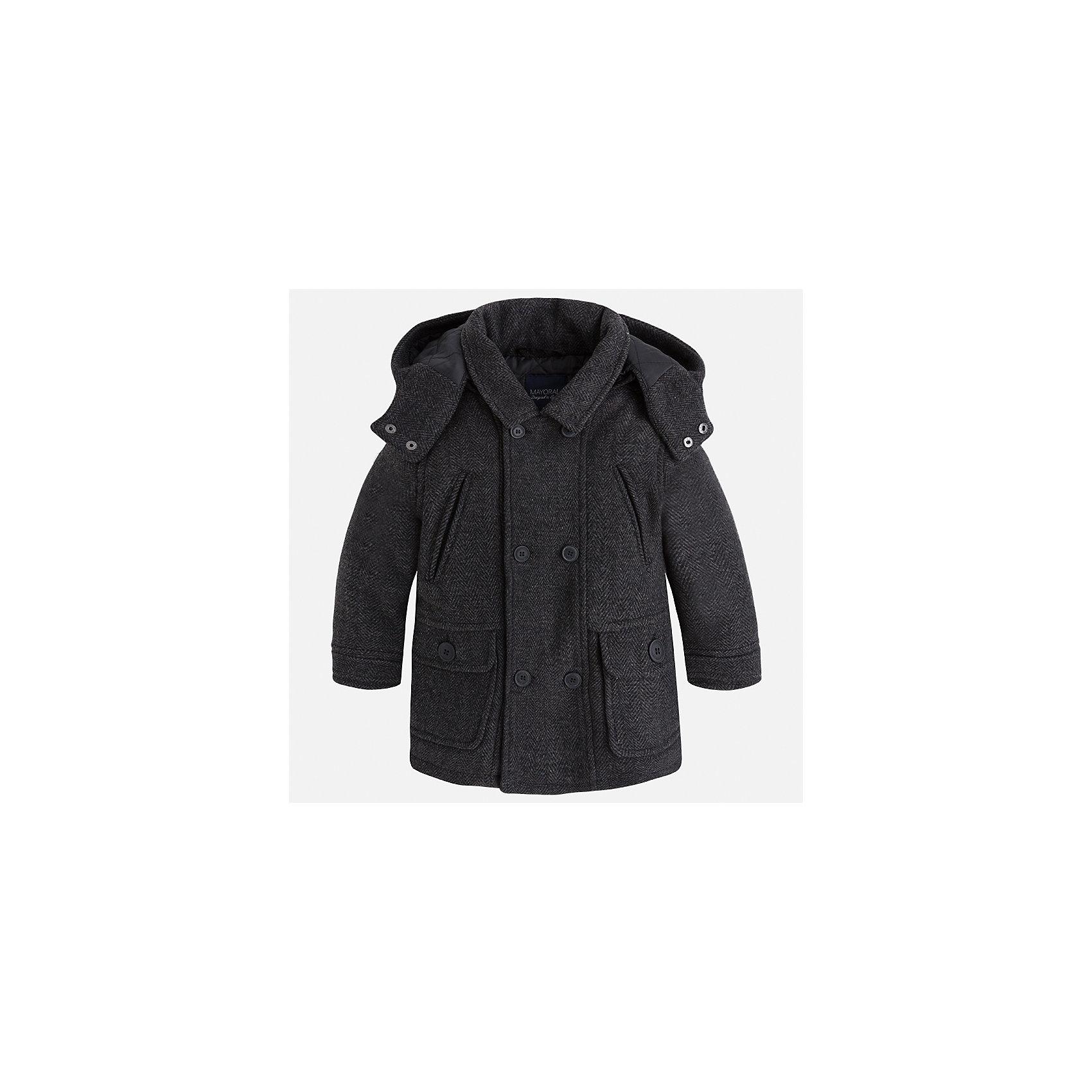 Куртка для мальчика MayoralДемисезонные куртки<br>Характеристики товара:<br><br>• цвет: серый<br>• состав ткани: 44% акрил, 44% полиэстер, 4% вискоза, 3% шерсть, 3% полиамид, 2% хлопок<br>• подкладка: 100% полиэстер<br>• утеплитель: 100% полиэстер<br>• сезон: демисезон<br>• температурный режим: от -5 до +10<br>• особенности модели: с капюшоном<br>• отложной воротник<br>• застежка: пуговицы<br>• страна бренда: Испания<br>• страна изготовитель: Индия<br><br>Стильная детская куртка сделана из плотного но теплого материала. Благодаря качественной ткани детской куртки для мальчика создаются комфортные условия для тела. Серая куртка для мальчика отличается стильным продуманным дизайном.<br><br>Куртку для мальчика Mayoral (Майорал) можно купить в нашем интернет-магазине.<br><br>Ширина мм: 356<br>Глубина мм: 10<br>Высота мм: 245<br>Вес г: 519<br>Цвет: серый<br>Возраст от месяцев: 96<br>Возраст до месяцев: 108<br>Пол: Мужской<br>Возраст: Детский<br>Размер: 134,92,98,104,110,116,122,128<br>SKU: 6934742