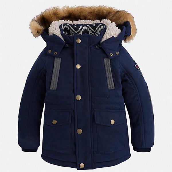 Куртка для мальчика MayoralВерхняя одежда<br>Характеристики товара:<br><br>• цвет: синий<br>• состав ткани: 88% полиэстер, 12% полиамид<br>• подкладка: 100% полиэстер<br>• утеплитель: 100% полиэстер<br>• сезон: демисезон<br>• температурный режим: от -10 до +10<br>• особенности модели: с капюшоном<br>• капюшон: с опушкой, отстегивается<br>• застежка: молния, кнопки<br>• страна бренда: Испания<br>• страна изготовитель: Индия<br><br>Стильная демисезонная куртка для мальчика от Майорал поможет обеспечить ребенку комфорт и тепло. Детская куртка с капюшоном отличается модным и продуманным дизайном. В куртке для мальчика от испанской компании Майорал ребенок будет выглядеть модно, а чувствовать себя - комфортно. <br><br>Куртку для мальчика Mayoral (Майорал) можно купить в нашем интернет-магазине.<br>Ширина мм: 356; Глубина мм: 10; Высота мм: 245; Вес г: 519; Цвет: синий; Возраст от месяцев: 18; Возраст до месяцев: 24; Пол: Мужской; Возраст: Детский; Размер: 92,134,128,122,116,110,104,98; SKU: 6934832;