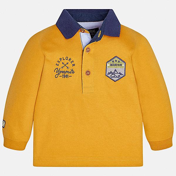 Футболка-поло с длинным рукавом Mayoral для мальчикаФутболки с длинным рукавом<br>Характеристики товара:<br><br>• цвет: желтый<br>• состав ткани: 100% хлопок<br>• сезон: демисезон<br>• особенности модели: отложной воротник<br>• застежка: пуговицы<br>• длинные рукава<br>• страна бренда: Испания<br>• страна изготовитель: Индия<br><br>Хлопковая рубашка-поло с длинным рукавом для мальчика Mayoral удобно сидит по фигуре. Стильная детская рубашка-поло с длинным рукавом сделана из натуральной хлопковой ткани. Отличный способ обеспечить ребенку тепло и комфорт - надеть детскую Рубашку-поло с длинным рукавом от Mayoral. Детская рубашка-поло с длинным рукавом сшита из приятного на ощупь материала. <br><br>Рубашку-поло с длинным рукавом для мальчика Mayoral (Майорал) можно купить в нашем интернет-магазине.<br>Ширина мм: 230; Глубина мм: 40; Высота мм: 220; Вес г: 250; Цвет: желтый; Возраст от месяцев: 6; Возраст до месяцев: 9; Пол: Мужской; Возраст: Детский; Размер: 74,98,92,86,80; SKU: 6934994;