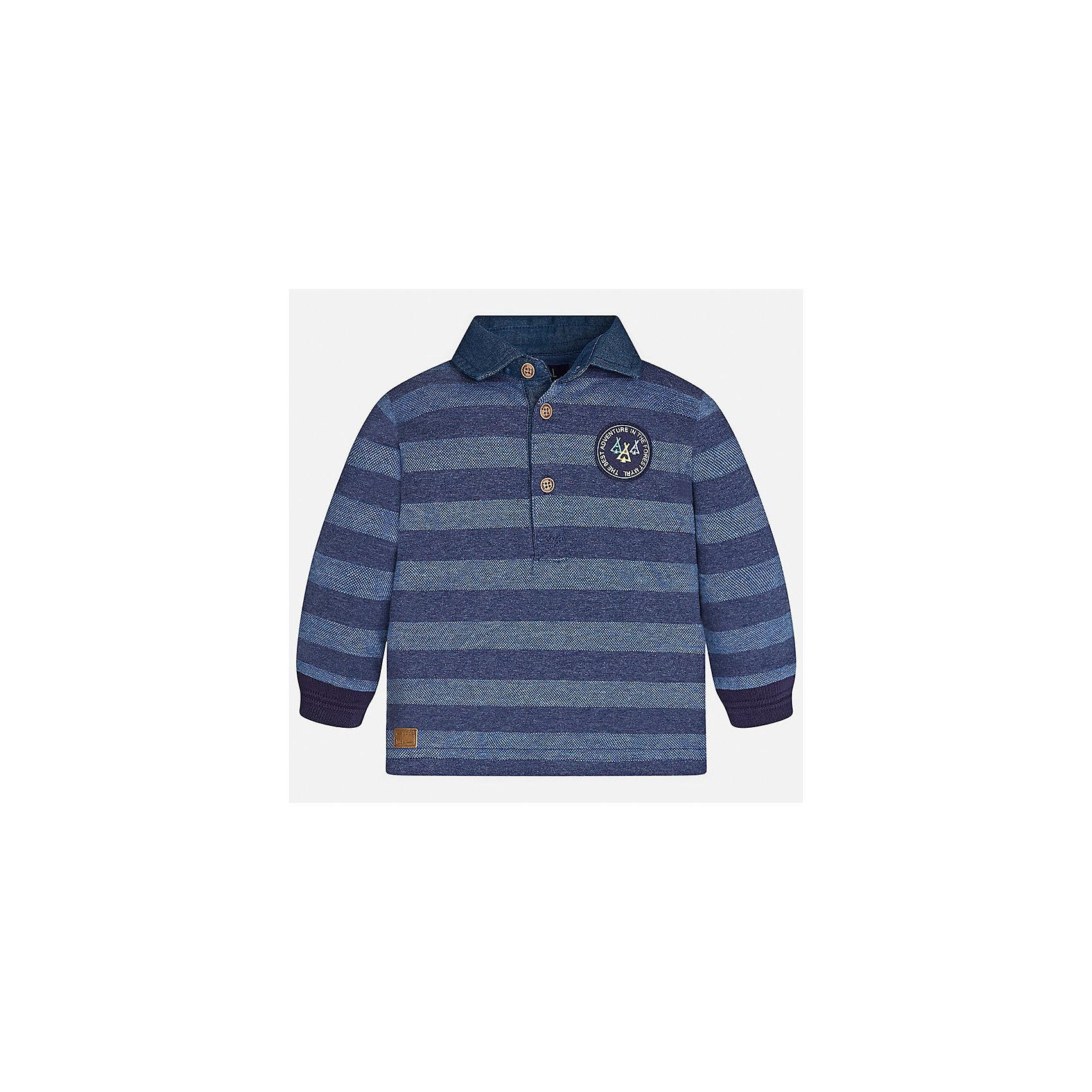 Футболка-поло с длинным рукавом Mayoral для мальчикаФутболки с длинным рукавом<br>Характеристики товара:<br><br>• цвет: голубой<br>• состав ткани: 100% хлопок<br>• сезон: демисезон<br>• особенности модели: отложной воротник<br>• застежка: пуговицы<br>• длинные рукава<br>• страна бренда: Испания<br>• страна изготовитель: Индия<br><br>Полосатая детская рубашка-поло с длинным рукавом сделана из дышащего приятного на ощупь материала. Благодаря продуманному крою детской футболки-поло создаются комфортные условия для тела. рубашка-поло с длинным рукавом для мальчика отличается стильным продуманным дизайном.<br><br>Рубашку-поло с длинным рукавом для мальчика Mayoral (Майорал) можно купить в нашем интернет-магазине.<br><br>Ширина мм: 230<br>Глубина мм: 40<br>Высота мм: 220<br>Вес г: 250<br>Цвет: голубой<br>Возраст от месяцев: 18<br>Возраст до месяцев: 24<br>Пол: Мужской<br>Возраст: Детский<br>Размер: 92,98,74,80,86<br>SKU: 6935006
