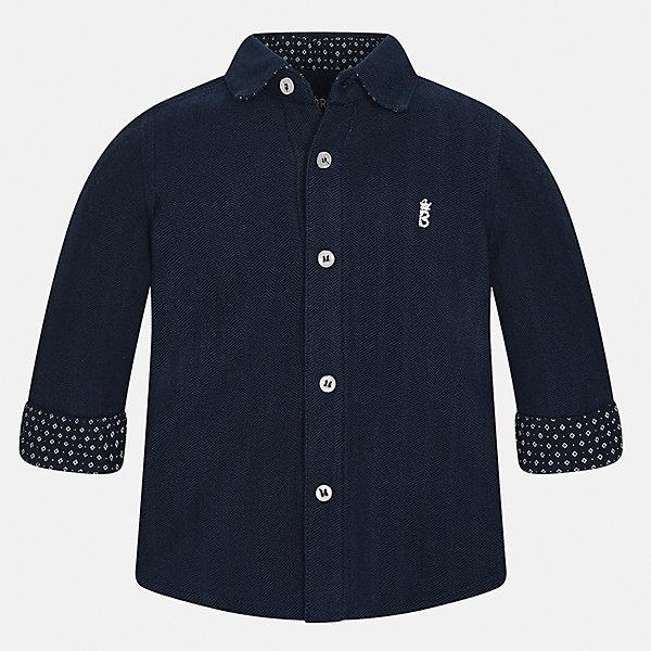 Рубашка Mayoral для мальчикаБлузки и рубашки<br>Характеристики товара:<br><br>• цвет: темно-синий<br>• состав ткани: 100% хлопок<br>• сезон: демисезон<br>• особенности модели: школьная<br>• застежка: пуговицы<br>• длинные рукава<br>• страна бренда: Испания<br>• страна изготовитель: Индия<br><br>Эта детская рубашка сделана из дышащего приятного на ощупь материала. Благодаря продуманному крою детской рубашки создаются комфортные условия для тела. Рубашка с длинным рукавом для мальчика отличается стильным продуманным дизайном.<br><br>Рубашку для мальчика Mayoral (Майорал) можно купить в нашем интернет-магазине.<br><br>Ширина мм: 174<br>Глубина мм: 10<br>Высота мм: 169<br>Вес г: 157<br>Цвет: темно-синий<br>Возраст от месяцев: 12<br>Возраст до месяцев: 15<br>Пол: Мужской<br>Возраст: Детский<br>Размер: 80,98,92,86<br>SKU: 6935024