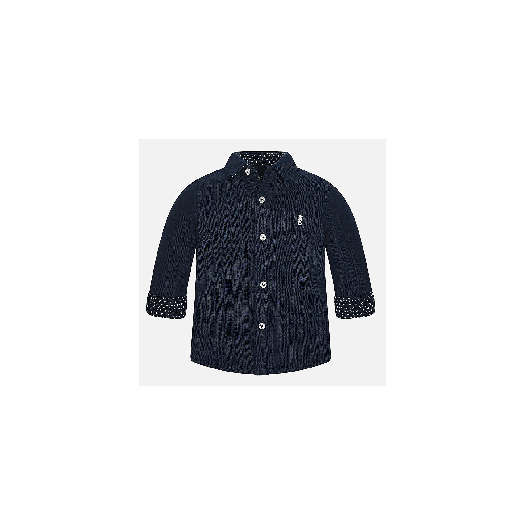 Рубашка Mayoral для мальчикаБлузки и рубашки<br>Характеристики товара:<br><br>• цвет: темно-синий<br>• состав ткани: 100% хлопок<br>• сезон: демисезон<br>• особенности модели: школьная<br>• застежка: пуговицы<br>• длинные рукава<br>• страна бренда: Испания<br>• страна изготовитель: Индия<br><br>Эта детская рубашка сделана из дышащего приятного на ощупь материала. Благодаря продуманному крою детской рубашки создаются комфортные условия для тела. Рубашка с длинным рукавом для мальчика отличается стильным продуманным дизайном.<br><br>Рубашку для мальчика Mayoral (Майорал) можно купить в нашем интернет-магазине.<br><br>Ширина мм: 174<br>Глубина мм: 10<br>Высота мм: 169<br>Вес г: 157<br>Цвет: темно-синий<br>Возраст от месяцев: 24<br>Возраст до месяцев: 36<br>Пол: Мужской<br>Возраст: Детский<br>Размер: 98,80,86,92<br>SKU: 6935024