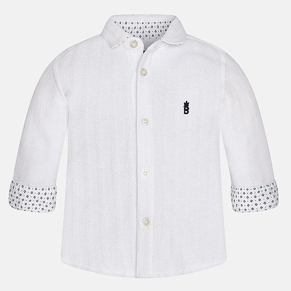 Рубашка Mayoral для мальчикаБлузки и рубашки<br>Характеристики товара:<br><br>• цвет: белый<br>• состав ткани: 100% хлопок<br>• сезон: демисезон<br>• особенности модели: школьная<br>• застежка: пуговицы<br>• длинные рукава<br>• страна бренда: Испания<br>• страна изготовитель: Индия<br><br>Оригинальная рубашка с длинным рукавом для мальчика Mayoral удобно сидит по фигуре. Стильная детская рубашка сделана из натуральной хлопковой ткани. Отличный способ обеспечить ребенку комфорт и аккуратный внешний вид - надеть детскую рубашку от Mayoral. Детская рубашка с длинным рукавом сшита из приятного на ощупь материала. <br><br>Рубашку для мальчика Mayoral (Майорал) можно купить в нашем интернет-магазине.<br><br>Ширина мм: 174<br>Глубина мм: 10<br>Высота мм: 169<br>Вес г: 157<br>Цвет: белый<br>Возраст от месяцев: 24<br>Возраст до месяцев: 36<br>Пол: Мужской<br>Возраст: Детский<br>Размер: 98,80,92,86<br>SKU: 6935029