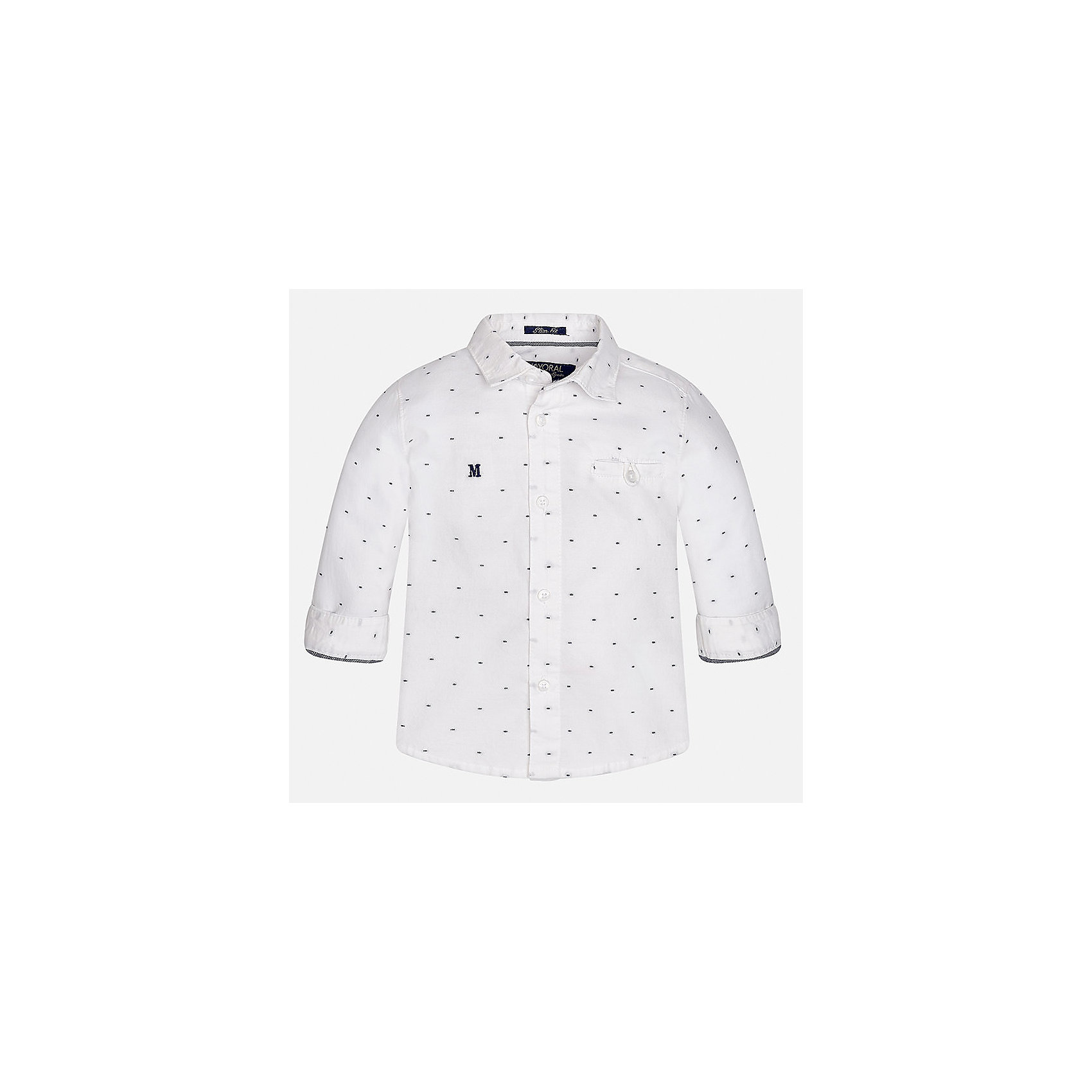 Рубашка для мальчика MayoralБлузки и рубашки<br>Характеристики товара:<br><br>• цвет: белый<br>• состав ткани: 100% хлопок<br>• сезон: демисезон<br>• особенности модели: школьная<br>• застежка: пуговицы<br>• длинные рукава<br>• страна бренда: Испания<br>• страна изготовитель: Индия<br><br>Белая детская рубашка сделана из дышащего приятного на ощупь материала. Благодаря продуманному крою детской рубашки создаются комфортные условия для тела. Рубашка с длинным рукавом для мальчика отличается стильным продуманным дизайном.<br><br>Рубашку для мальчика Mayoral (Майорал) можно купить в нашем интернет-магазине.<br><br>Ширина мм: 174<br>Глубина мм: 10<br>Высота мм: 169<br>Вес г: 157<br>Цвет: белый<br>Возраст от месяцев: 24<br>Возраст до месяцев: 36<br>Пол: Мужской<br>Возраст: Детский<br>Размер: 98,80,86,92<br>SKU: 6935039