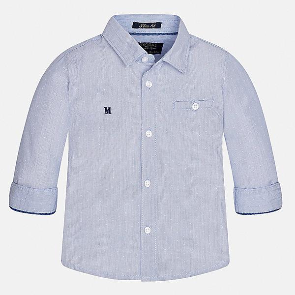 Рубашка Mayoral для мальчикаБлузки и рубашки<br>Характеристики товара:<br><br>• цвет: голубой<br>• состав ткани: 100% хлопок<br>• сезон: демисезон<br>• особенности модели: школьная<br>• застежка: пуговицы<br>• длинные рукава<br>• страна бренда: Испания<br>• страна изготовитель: Индия<br><br>Модная рубашка с длинным рукавом для мальчика Mayoral удобно сидит по фигуре. Стильная детская рубашка сделана из натуральной хлопковой ткани. Отличный способ обеспечить ребенку комфорт и аккуратный внешний вид - надеть детскую рубашку от Mayoral. Детская рубашка с длинным рукавом сшита из приятного на ощупь материала. <br><br>Рубашку для мальчика Mayoral (Майорал) можно купить в нашем интернет-магазине.<br><br>Ширина мм: 174<br>Глубина мм: 10<br>Высота мм: 169<br>Вес г: 157<br>Цвет: голубой<br>Возраст от месяцев: 12<br>Возраст до месяцев: 15<br>Пол: Мужской<br>Возраст: Детский<br>Размер: 80,98,92,86<br>SKU: 6935044