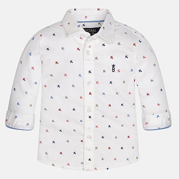 Рубашка Mayoral для мальчикаБлузки и рубашки<br>Характеристики товара:<br><br>• цвет: белый<br>• состав ткани: 100% хлопок<br>• сезон: демисезон<br>• особенности модели: школьная<br>• застежка: пуговицы<br>• длинные рукава<br>• страна бренда: Испания<br>• страна изготовитель: Индия<br><br>Модная детская рубашка сделана из дышащего приятного на ощупь материала. Благодаря продуманному крою детской рубашки создаются комфортные условия для тела. Рубашка с длинным рукавом для мальчика отличается стильным продуманным дизайном.<br><br>Рубашку для мальчика Mayoral (Майорал) можно купить в нашем интернет-магазине.<br><br>Ширина мм: 174<br>Глубина мм: 10<br>Высота мм: 169<br>Вес г: 157<br>Цвет: белый<br>Возраст от месяцев: 12<br>Возраст до месяцев: 15<br>Пол: Мужской<br>Возраст: Детский<br>Размер: 80,98,92,86<br>SKU: 6935055