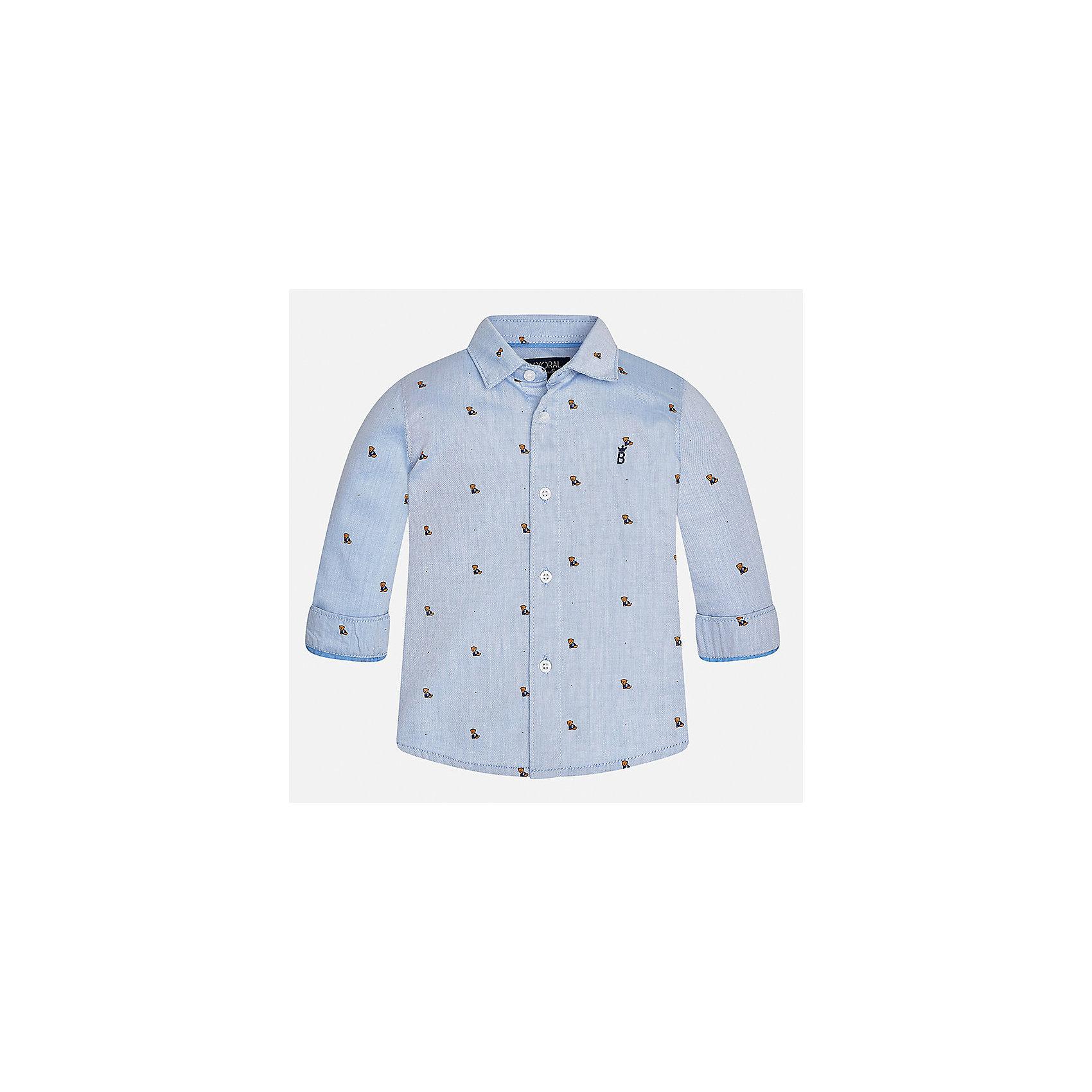 Рубашка Mayoral для мальчикаБлузки и рубашки<br>Характеристики товара:<br><br>• цвет: голубой<br>• состав ткани: 100% хлопок<br>• сезон: демисезон<br>• особенности модели: школьная<br>• застежка: пуговицы<br>• длинные рукава<br>• страна бренда: Испания<br>• страна изготовитель: Индия<br><br>Голубая рубашка с длинным рукавом для мальчика Mayoral удобно сидит по фигуре. Стильная детская рубашка сделана из натуральной хлопковой ткани. Отличный способ обеспечить ребенку комфорт и аккуратный внешний вид - надеть детскую рубашку от Mayoral. Детская рубашка с длинным рукавом сшита из приятного на ощупь материала. <br><br>Рубашку для мальчика Mayoral (Майорал) можно купить в нашем интернет-магазине.<br><br>Ширина мм: 174<br>Глубина мм: 10<br>Высота мм: 169<br>Вес г: 157<br>Цвет: голубой<br>Возраст от месяцев: 24<br>Возраст до месяцев: 36<br>Пол: Мужской<br>Возраст: Детский<br>Размер: 98,80,86,92<br>SKU: 6935060