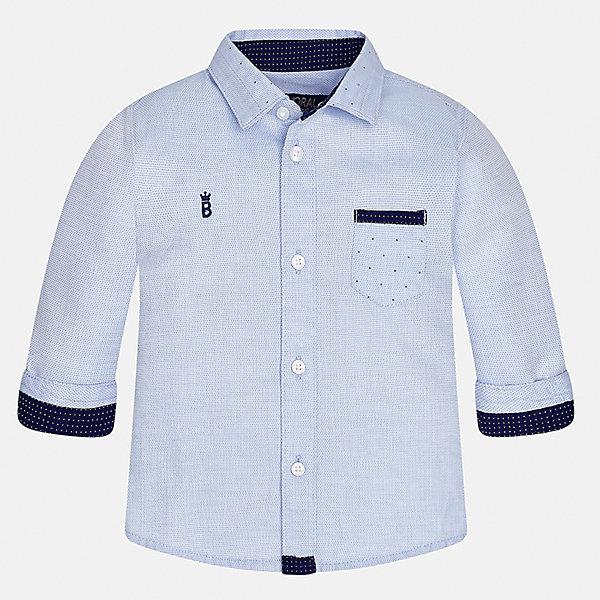 Рубашка для мальчика MayoralБлузки и рубашки<br>Характеристики товара:<br><br>• цвет: голубой<br>• состав ткани: 100% хлопок<br>• сезон: демисезон<br>• особенности модели: школьная<br>• застежка: пуговицы<br>• длинные рукава<br>• страна бренда: Испания<br>• страна изготовитель: Индия<br><br>Такая рубашка с длинным рукавом для мальчика от Майорал поможет обеспечить ребенку комфорт. Детская рубашка отличается стильным и продуманным дизайном. В рубашке для мальчика от испанской компании Майорал ребенок будет выглядеть модно, а чувствовать себя - комфортно. <br><br>Рубашку для мальчика Mayoral (Майорал) можно купить в нашем интернет-магазине.<br><br>Ширина мм: 174<br>Глубина мм: 10<br>Высота мм: 169<br>Вес г: 157<br>Цвет: голубой<br>Возраст от месяцев: 12<br>Возраст до месяцев: 15<br>Пол: Мужской<br>Возраст: Детский<br>Размер: 80,98,92,86<br>SKU: 6935065