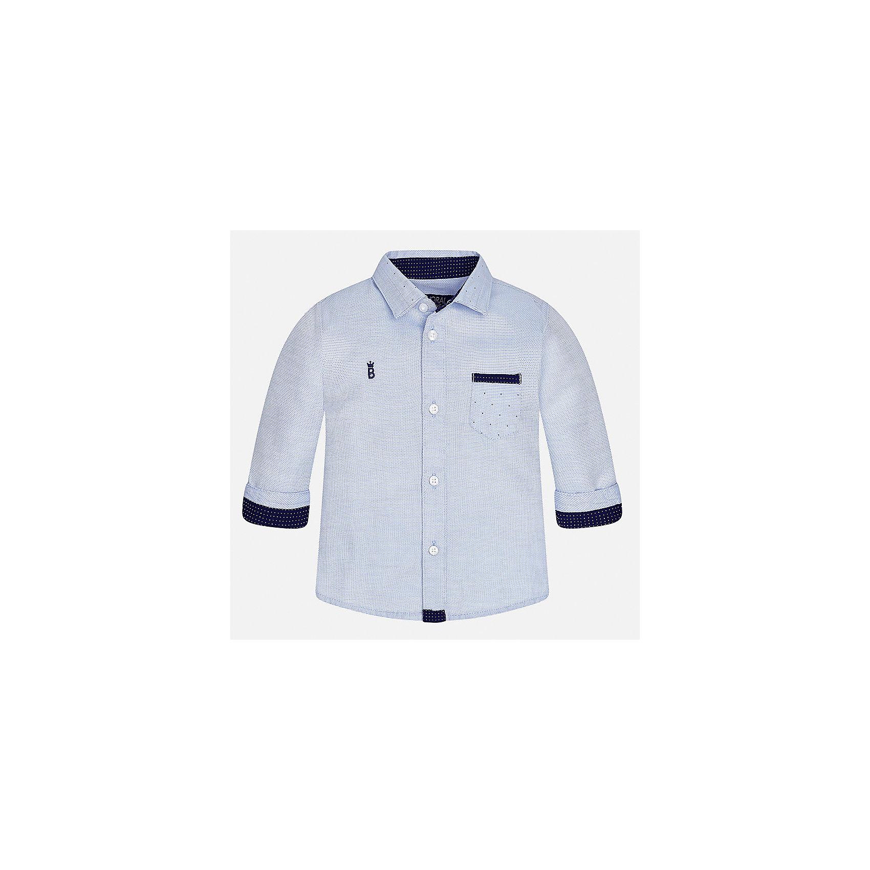 Рубашка для мальчика MayoralБлузки и рубашки<br>Характеристики товара:<br><br>• цвет: голубой<br>• состав ткани: 100% хлопок<br>• сезон: демисезон<br>• особенности модели: школьная<br>• застежка: пуговицы<br>• длинные рукава<br>• страна бренда: Испания<br>• страна изготовитель: Индия<br><br>Такая рубашка с длинным рукавом для мальчика от Майорал поможет обеспечить ребенку комфорт. Детская рубашка отличается стильным и продуманным дизайном. В рубашке для мальчика от испанской компании Майорал ребенок будет выглядеть модно, а чувствовать себя - комфортно. <br><br>Рубашку для мальчика Mayoral (Майорал) можно купить в нашем интернет-магазине.<br><br>Ширина мм: 174<br>Глубина мм: 10<br>Высота мм: 169<br>Вес г: 157<br>Цвет: голубой<br>Возраст от месяцев: 24<br>Возраст до месяцев: 36<br>Пол: Мужской<br>Возраст: Детский<br>Размер: 98,80,86,92<br>SKU: 6935065