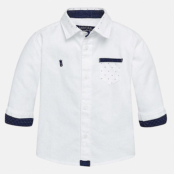 Рубашка для мальчика MayoralБлузки и рубашки<br>Характеристики товара:<br><br>• цвет: белый<br>• состав ткани: 100% хлопок<br>• сезон: демисезон<br>• особенности модели: школьная<br>• застежка: пуговицы<br>• длинные рукава<br>• страна бренда: Испания<br>• страна изготовитель: Индия<br><br>Рубашка с длинным рукавом для мальчика отличается стильным продуманным дизайном. Модная детская рубашка сделана из дышащего приятного на ощупь материала. Благодаря продуманному крою детской рубашки создаются комфортные условия для тела. <br><br>Рубашку для мальчика Mayoral (Майорал) можно купить в нашем интернет-магазине.<br><br>Ширина мм: 174<br>Глубина мм: 10<br>Высота мм: 169<br>Вес г: 157<br>Цвет: белый<br>Возраст от месяцев: 18<br>Возраст до месяцев: 24<br>Пол: Мужской<br>Возраст: Детский<br>Размер: 92,80,98,86<br>SKU: 6935070