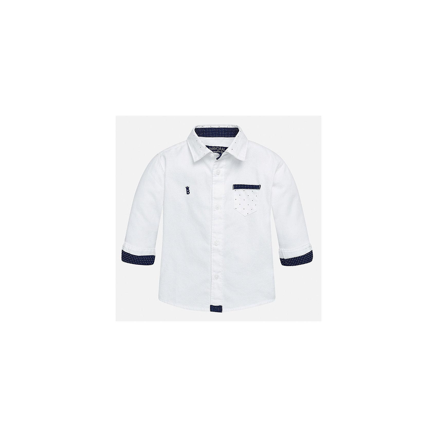 Рубашка для мальчика MayoralБлузки и рубашки<br>Характеристики товара:<br><br>• цвет: белый<br>• состав ткани: 100% хлопок<br>• сезон: демисезон<br>• особенности модели: школьная<br>• застежка: пуговицы<br>• длинные рукава<br>• страна бренда: Испания<br>• страна изготовитель: Индия<br><br>Рубашка с длинным рукавом для мальчика отличается стильным продуманным дизайном. Модная детская рубашка сделана из дышащего приятного на ощупь материала. Благодаря продуманному крою детской рубашки создаются комфортные условия для тела. <br><br>Рубашку для мальчика Mayoral (Майорал) можно купить в нашем интернет-магазине.<br><br>Ширина мм: 174<br>Глубина мм: 10<br>Высота мм: 169<br>Вес г: 157<br>Цвет: белый<br>Возраст от месяцев: 24<br>Возраст до месяцев: 36<br>Пол: Мужской<br>Возраст: Детский<br>Размер: 98,80,86,92<br>SKU: 6935070