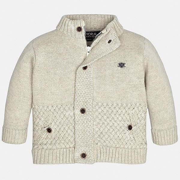 Кардиган Mayoral для мальчикаТолстовки, свитера, кардиганы<br>Характеристики товара:<br><br>• цвет: бежевый<br>• состав ткани: 50% акрил, 45% полиамид, 5% шерсть<br>• сезон: демисезон<br>• особенности модели: вязаный<br>• застежка: пуговицы<br>• длинные рукава<br>• страна бренда: Испания<br>• страна изготовитель: Индия<br><br>Теплый детский кардиган сделан из дышащего приятного на ощупь материала. Благодаря продуманному крою детского кардигана создаются комфортные условия для тела. Кардиган с капюшоном для мальчика отличается стильным продуманным дизайном.<br><br>Кардиган для мальчика Mayoral (Майорал) можно купить в нашем интернет-магазине.<br>Ширина мм: 190; Глубина мм: 74; Высота мм: 229; Вес г: 236; Цвет: бежевый; Возраст от месяцев: 6; Возраст до месяцев: 9; Пол: Мужской; Возраст: Детский; Размер: 74,98,80,86,92; SKU: 6935123;