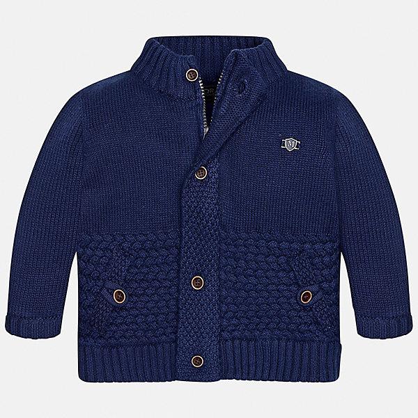 Кардиган Mayoral для мальчикаТолстовки, свитера, кардиганы<br>Характеристики товара:<br><br>• цвет: синий<br>• состав ткани: 50% акрил, 45% полиамид, 5% шерсть<br>• сезон: демисезон<br>• особенности модели: вязаный<br>• застежка: пуговицы<br>• длинные рукава<br>• страна бренда: Испания<br>• страна изготовитель: Индия<br><br>Модный кардиган для мальчика от Майорал поможет обеспечить ребенку комфорт и тепло. Детский кардиган с капюшоном отличается модным и продуманным дизайном. В кардигане для мальчика от испанской компании Майорал ребенок будет выглядеть модно, а чувствовать себя - комфортно. <br><br>Кардиган для мальчика Mayoral (Майорал) можно купить в нашем интернет-магазине.<br><br>Ширина мм: 190<br>Глубина мм: 74<br>Высота мм: 229<br>Вес г: 236<br>Цвет: синий<br>Возраст от месяцев: 12<br>Возраст до месяцев: 15<br>Пол: Мужской<br>Возраст: Детский<br>Размер: 80,74,98,92,86<br>SKU: 6935129