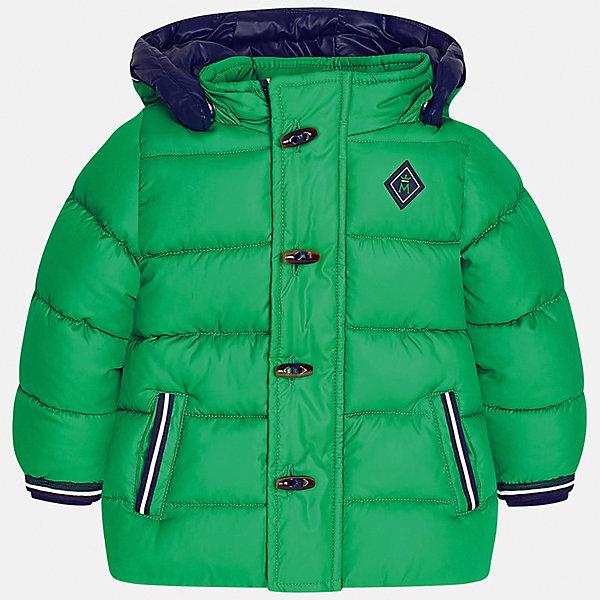 Куртка Mayoral для мальчикаВерхняя одежда<br>Характеристики товара:<br><br>• цвет: зеленый<br>• состав ткани: 100% полиэстер<br>• подкладка: 100% полиэстер<br>• утеплитель: 100% полиэстер<br>• сезон: демисезон<br>• температурный режим: от -10 до +10<br>• особенности модели: с капюшоном, дутая<br>• капюшон: съемный<br>• застежка: молния, пуговицы<br>• страна бренда: Испания<br>• страна изготовитель: Индия<br><br>Эта демисезонная детская куртка подойдет для переменной погоды. Отличный способ обеспечить ребенку тепло и комфорт - надеть теплую куртку от Mayoral. Детская куртка сшита из приятного на ощупь материала. Куртка для мальчика Mayoral дополнена теплой подкладкой.<br><br>Куртку для мальчика Mayoral (Майорал) можно купить в нашем интернет-магазине.<br>Ширина мм: 356; Глубина мм: 10; Высота мм: 245; Вес г: 519; Цвет: зеленый; Возраст от месяцев: 12; Возраст до месяцев: 15; Пол: Мужской; Возраст: Детский; Размер: 80,98,92,86; SKU: 6935135;