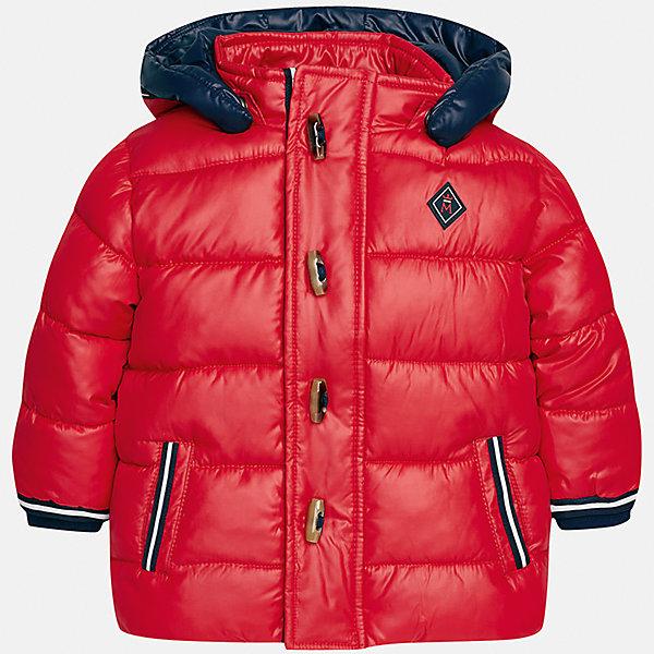 Куртка для мальчика MayoralВерхняя одежда<br>Характеристики товара:<br><br>• цвет: красный<br>• состав ткани: 100% полиэстер<br>• подкладка: 100% полиэстер<br>• утеплитель: 100% полиэстер<br>• сезон: демисезон<br>• температурный режим: от -10 до +10<br>• особенности модели: с капюшоном, дутая<br>• капюшон: съемный<br>• застежка: молния, пуговицы<br>• страна бренда: Испания<br>• страна изготовитель: Индия<br><br>Стильная демисезонная куртка для мальчика от Майорал поможет обеспечить ребенку комфорт и тепло. Детская куртка с капюшоном отличается модным и продуманным дизайном. В куртке для мальчика от испанской компании Майорал ребенок будет выглядеть модно, а чувствовать себя - комфортно. <br><br>Куртку для мальчика Mayoral (Майорал) можно купить в нашем интернет-магазине.<br>Ширина мм: 356; Глубина мм: 10; Высота мм: 245; Вес г: 519; Цвет: красный; Возраст от месяцев: 18; Возраст до месяцев: 24; Пол: Мужской; Возраст: Детский; Размер: 92,86,80,98; SKU: 6935145;