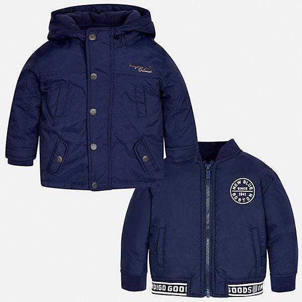 Куртка для мальчика MayoralВерхняя одежда<br>Характеристики товара:<br><br>• цвет: синий<br>• состав ткани: 100% полиамид<br>• подкладка: 100% полиамид<br>• утеплитель: 100% полиэстер<br>• сезон: демисезон<br>• температурный режим: от -10 до +10<br>• особенности модели: с капюшоном, куртка-подстежка в комплекте<br>• капюшон: несъемный<br>• застежка: молния, кнопки<br>• страна бренда: Испания<br>• страна изготовитель: Индия<br><br>Синяя демисезонная детская куртка подойдет для переменной погоды - в комплекте с ней идет более легкая подстежка, которая может быть самостоятельным предметом одежды. Отличный способ обеспечить ребенку тепло и комфорт - надеть теплую куртку от Mayoral. Детская куртка сшита из приятного на ощупь материала.<br><br>Куртку для мальчика Mayoral (Майорал) можно купить в нашем интернет-магазине.<br>Ширина мм: 356; Глубина мм: 10; Высота мм: 245; Вес г: 519; Цвет: синий; Возраст от месяцев: 18; Возраст до месяцев: 24; Пол: Мужской; Возраст: Детский; Размер: 92,98,86,80; SKU: 6935190;