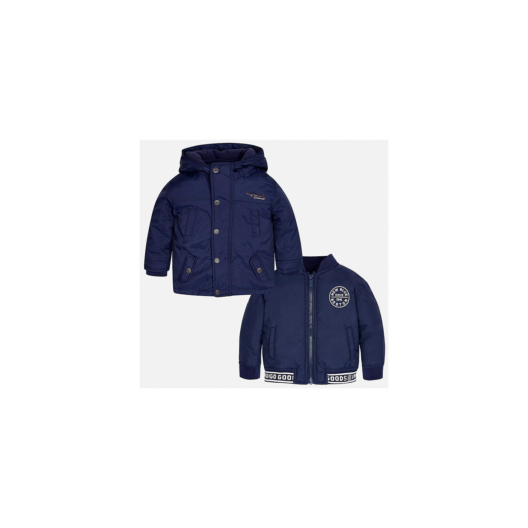 Куртка для мальчика MayoralВерхняя одежда<br>Характеристики товара:<br><br>• цвет: синий<br>• состав ткани: 100% полиамид<br>• подкладка: 100% полиамид<br>• утеплитель: 100% полиэстер<br>• сезон: демисезон<br>• температурный режим: от -10 до +10<br>• особенности модели: с капюшоном, куртка-подстежка в комплекте<br>• капюшон: несъемный<br>• застежка: молния, кнопки<br>• страна бренда: Испания<br>• страна изготовитель: Индия<br><br>Синяя демисезонная детская куртка подойдет для переменной погоды - в комплекте с ней идет более легкая подстежка, которая может быть самостоятельным предметом одежды. Отличный способ обеспечить ребенку тепло и комфорт - надеть теплую куртку от Mayoral. Детская куртка сшита из приятного на ощупь материала.<br><br>Куртку для мальчика Mayoral (Майорал) можно купить в нашем интернет-магазине.<br><br>Ширина мм: 356<br>Глубина мм: 10<br>Высота мм: 245<br>Вес г: 519<br>Цвет: синий<br>Возраст от месяцев: 24<br>Возраст до месяцев: 36<br>Пол: Мужской<br>Возраст: Детский<br>Размер: 98,80,86,92<br>SKU: 6935190