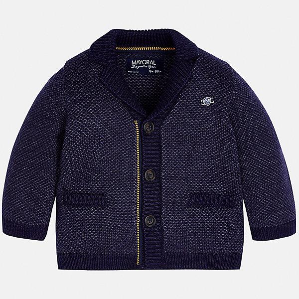 Пиджак для мальчика MayoralТолстовки, свитера, кардиганы<br>Характеристики товара:<br><br>• цвет: синий<br>• состав ткани: 60% хлопок, 40% акрил<br>• сезон: демисезон<br>• особенности модели: вязаный<br>• застежка: пуговицы<br>• длинные рукава<br>• страна бренда: Испания<br>• страна изготовитель: Индия<br><br>Вязаный детский кардиган сделан из дышащего приятного на ощупь материала. Благодаря продуманному крою детского кардигана создаются комфортные условия для тела. Кардиган с капюшоном для мальчика отличается стильным продуманным дизайном.<br><br>Кардиган для мальчика Mayoral (Майорал) можно купить в нашем интернет-магазине.<br><br>Ширина мм: 190<br>Глубина мм: 74<br>Высота мм: 229<br>Вес г: 236<br>Цвет: синий<br>Возраст от месяцев: 6<br>Возраст до месяцев: 9<br>Пол: Мужской<br>Возраст: Детский<br>Размер: 74,98,92,86,80<br>SKU: 6935223