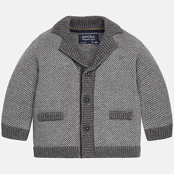 Пиджак для мальчика MayoralКостюмы и пиджаки<br>Характеристики товара:<br><br>• цвет: серый<br>• состав ткани: 60% хлопок, 40% акрил<br>• сезон: демисезон<br>• особенности модели: вязаный<br>• застежка: пуговицы<br>• длинные рукава<br>• страна бренда: Испания<br>• страна изготовитель: Индия<br><br>Теплый детский кардиган сделан из дышащего приятного на ощупь материала. Благодаря продуманному крою детского кардигана создаются комфортные условия для тела. Кардиган для мальчика отличается стильным продуманным дизайном.<br><br>Кардиган для мальчика Mayoral (Майорал) можно купить в нашем интернет-магазине.<br>Ширина мм: 190; Глубина мм: 74; Высота мм: 229; Вес г: 236; Цвет: серый; Возраст от месяцев: 6; Возраст до месяцев: 9; Пол: Мужской; Возраст: Детский; Размер: 74,98,92,86,80; SKU: 6935229;