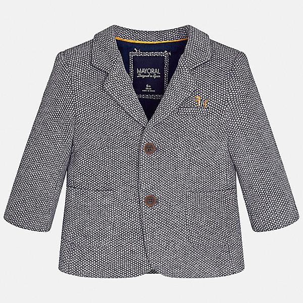 Пиджак для мальчика MayoralКостюмы и пиджаки<br>Характеристики товара:<br><br>• цвет: серый<br>• состав ткани: 53% хлопок, 35% полиэстер, 12% полиамид<br>• сезон: демисезон<br>• особенности модели: школьная<br>• длинные рукава<br>• застежка: пуговицы<br>• страна бренда: Испания<br>• страна изготовитель: Индия<br><br>Серый классический детский пиджак для мальчика отлично подойдет для похода в школу или для торжественных случаев. Хороший способ обеспечить ребенку аккуратный внешний вид и комфорт - надеть детский пиджак от Mayoral. Детский пиджак сшит из приятного на ощупь материала. <br><br>Пиджак для мальчика Mayoral (Майорал) можно купить в нашем интернет-магазине.<br>Ширина мм: 190; Глубина мм: 74; Высота мм: 229; Вес г: 236; Цвет: серый; Возраст от месяцев: 24; Возраст до месяцев: 36; Пол: Мужской; Возраст: Детский; Размер: 98,80,86,92; SKU: 6935235;