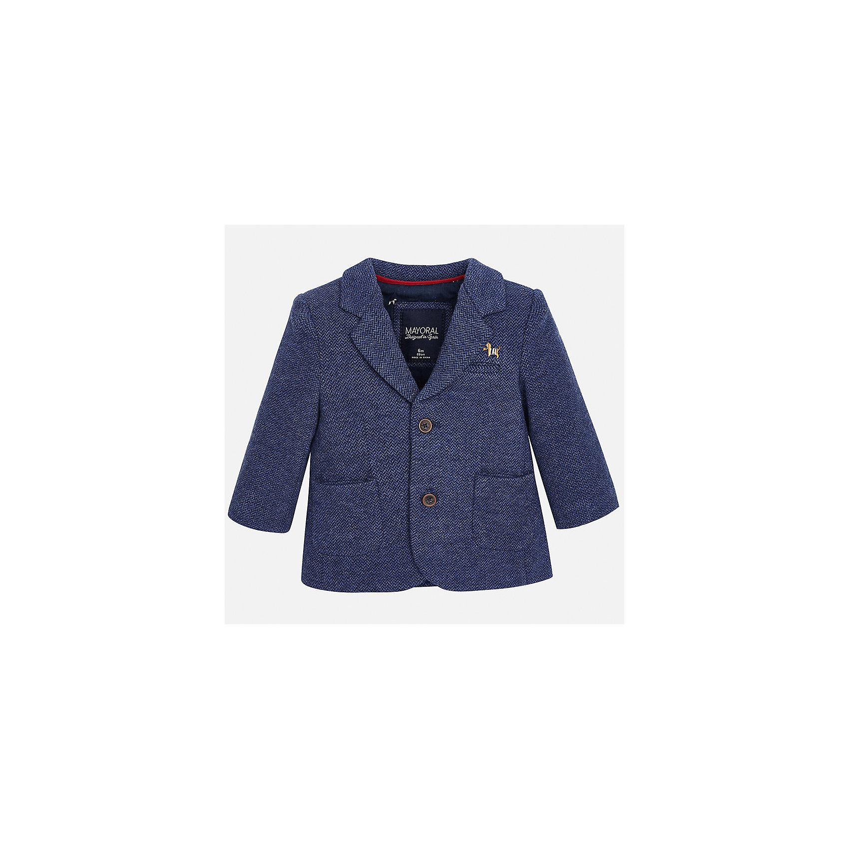 Пиджак для мальчика MayoralКостюмы и пиджаки<br>Характеристики товара:<br><br>• цвет: синий<br>• состав ткани: 53% хлопок, 35% полиэстер, 12% полиамид<br>• сезон: демисезон<br>• особенности модели: школьная<br>• длинные рукава<br>• застежка: пуговицы<br>• страна бренда: Испания<br>• страна изготовитель: Индия<br><br>Такой синий детский пиджак сшит из приятного на материала, преимущественно имеющего в составе натуральный хлопок. Пиджак для мальчика Mayoral дополнен накладными карманами. Пиджак для ребенка отличается классическим силуэтом. Детский пиджак обеспечит ребенку аккуратный внешний вид. <br><br>Пиджак для мальчика Mayoral (Майорал) можно купить в нашем интернет-магазине.<br><br>Ширина мм: 190<br>Глубина мм: 74<br>Высота мм: 229<br>Вес г: 236<br>Цвет: синий<br>Возраст от месяцев: 12<br>Возраст до месяцев: 18<br>Пол: Мужской<br>Возраст: Детский<br>Размер: 86,92,98,80<br>SKU: 6935240