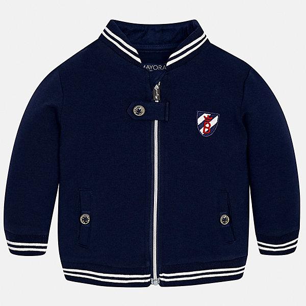 Куртка для мальчика MayoralВерхняя одежда<br>Характеристики товара:<br><br>• цвет: синий<br>• состав ткани: 63% хлопок, 32% полиэстер, 5% эластан<br>• сезон: демисезон<br>• температурный режим: от +10 до +20<br>• особенности куртки: с вышивкой, на молнии<br>• карманы<br>• застежка: молния<br>• страна бренда: Испания<br>• страна изготовитель: Индия<br><br>Эта демисезонная куртка для мальчика от Майорал поможет обеспечить ребенку комфорт и тепло. Детская куртка отличается модным и продуманным дизайном. В куртке для мальчика от испанской компании Майорал ребенок будет выглядеть модно, а чувствовать себя - комфортно. <br><br>Куртку для мальчика Mayoral (Майорал) можно купить в нашем интернет-магазине.<br><br>Ширина мм: 356<br>Глубина мм: 10<br>Высота мм: 245<br>Вес г: 519<br>Цвет: синий<br>Возраст от месяцев: 6<br>Возраст до месяцев: 9<br>Пол: Мужской<br>Возраст: Детский<br>Размер: 74,98,92,86,80<br>SKU: 6935266