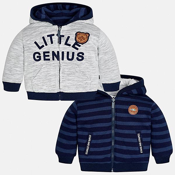 Куртка для мальчика MayoralВерхняя одежда<br>Характеристики товара:<br><br>• цвет: серый/синий<br>• состав ткани: 60% хлопок, 40% полиэстер<br>• сезон: демисезон<br>• температурный режим: от +5 до +20<br>• особенности куртки: с капюшоном, двусторонняя<br>• капюшон: несъемный<br>• застежка: молния<br>• страна бренда: Испания<br>• страна изготовитель: Индия<br><br>Демисезонная двусторонняя куртка сделана из легкого, но теплого материала. Благодаря качественной ткани детской куртки для мальчика создаются комфортные условия для тела. Эта куртка для мальчика отличается стильным продуманным дизайном. <br><br>Куртку для мальчика Mayoral (Майорал) можно купить в нашем интернет-магазине.<br><br>Ширина мм: 356<br>Глубина мм: 10<br>Высота мм: 245<br>Вес г: 519<br>Цвет: сине-серый<br>Возраст от месяцев: 6<br>Возраст до месяцев: 9<br>Пол: Мужской<br>Возраст: Детский<br>Размер: 74,98,92,86,80<br>SKU: 6935296