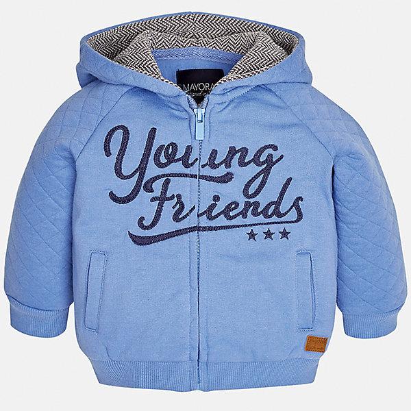 Куртка для мальчика MayoralТолстовки<br>Характеристики товара:<br><br>• цвет: голубой<br>• состав ткани: 60% хлопок, 40% полиэстер<br>• сезон: демисезон<br>• температурный режим: от +10 до +20<br>• особенности куртки: с капюшоном, на молнии<br>• капюшон: несъемный<br>• застежка: молния<br>• страна бренда: Испания<br>• страна изготовитель: Индия<br><br>Легкая детская куртка сшита из плотного на материала. Демисезонная куртка для мальчика Mayoral дополнена накладными карманами. Теплая куртка для ребенка отличается прямым силуэтом. Детская куртка обеспечит ребенку тепло и стильный внешний вид. <br><br>Куртку для мальчика Mayoral (Майорал) можно купить в нашем интернет-магазине.<br>Ширина мм: 356; Глубина мм: 10; Высота мм: 245; Вес г: 519; Цвет: голубой; Возраст от месяцев: 12; Возраст до месяцев: 18; Пол: Мужской; Возраст: Детский; Размер: 86,98,92,80,74; SKU: 6935308;