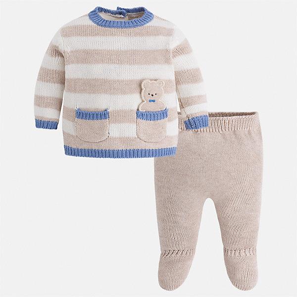 Комплект: свитер и ползунки для мальчика MayoralКомплекты<br>Характеристики товара:<br><br>• цвет: бежевый/коричневый/голубой<br>• состав ткани: 53% хлопок, 47% акрил<br>• сезон: демисезон<br>• комплектация: свитер и ползунки<br>• особенности комплекта: вязаный<br>• пояс: вязаная резинка<br>• застежка: пуговицы<br>• страна бренда: Испания<br>• страна изготовитель: Индия<br><br>Комплект: свитер и ползунки для мальчика сделаны из мягкой пряжи. Благодаря качественному материалу комплекта для мальчика создаются комфортные условия для тела. Комплект: свитер и ползунки для мальчика отличается симпатичным дизайном. <br><br>Комплект: свитер и ползунки для мальчика Mayoral (Майорал) можно купить в нашем интернет-магазине.<br><br>Ширина мм: 157<br>Глубина мм: 13<br>Высота мм: 119<br>Вес г: 200<br>Цвет: бежевый/коричневый<br>Возраст от месяцев: 0<br>Возраст до месяцев: 3<br>Пол: Мужской<br>Возраст: Детский<br>Размер: 56,74,68,62<br>SKU: 6935314