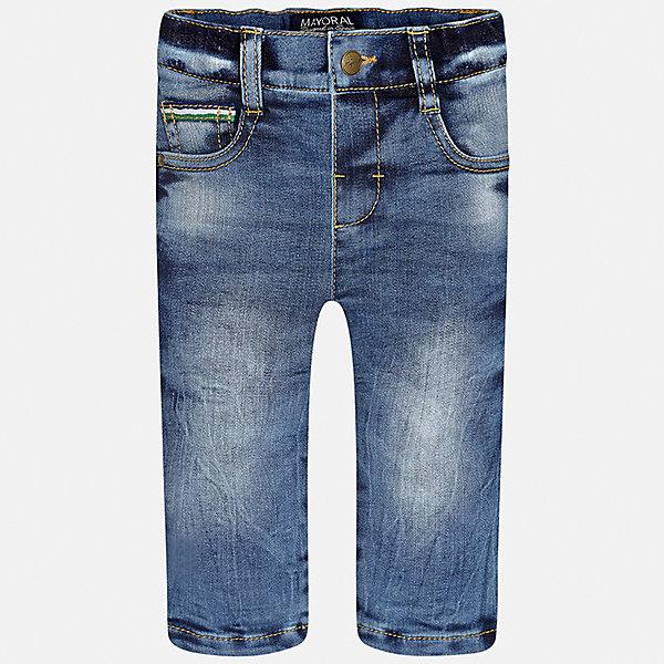 Брюки для мальчика MayoralДжинсы<br>Характеристики товара:<br><br>• цвет: голубой<br>• состав ткани: 100% хлопок<br>• сезон: демисезон<br>• особенности модели: эффект потертостей<br>• пояс: резинка и шнурок<br>• страна бренда: Испания<br>• страна изготовитель: Индия<br><br>Эти детские джинсы подойдут для ношения в разных случаях. Отличный способ обеспечить ребенку тепло и комфорт - надеть синие джинсы для мальчика от Mayoral. Детские хлопковые джинсы сшиты из приятного на ощупь материала. <br><br>Джинсы для мальчика Mayoral (Майорал) можно купить в нашем интернет-магазине.<br><br>Ширина мм: 215<br>Глубина мм: 88<br>Высота мм: 191<br>Вес г: 336<br>Цвет: голубой<br>Возраст от месяцев: 6<br>Возраст до месяцев: 9<br>Пол: Мужской<br>Возраст: Детский<br>Размер: 74,98,92,86,80<br>SKU: 6935349