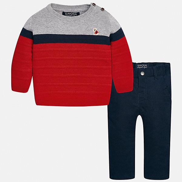 Комплект: свитер и брюки для мальчика MayoralКомплекты<br>Характеристики товара:<br><br>• цвет: красный/серый/синий<br>• состав ткани: свитер - 60% хлопок, 30% полиамид, 10% шерсть, брюки - 100% хлопок,<br>• комплектация: свитер и брюки<br>• сезон: демисезон<br>• особенности модели: пуговицы на плече<br>• шлевки<br>• регулируемая талия<br>• застежка брюк: пуговица<br>• страна бренда: Испания<br>• страна изготовитель: Индия<br><br>Удобный детский комплект из свитера и брюк подойдет для ношения в разных случаях. Отличный способ обеспечить ребенку тепло и комфорт - надеть детские брюки и свитер от Mayoral. Детские брюки сшиты из приятного на ощупь материала. Свитер для мальчика Mayoral удобно сидит по фигуре. <br><br>Комплект: свитер и брюки для мальчика Mayoral (Майорал) можно купить в нашем интернет-магазине.<br><br>Ширина мм: 215<br>Глубина мм: 88<br>Высота мм: 191<br>Вес г: 336<br>Цвет: синий/красный<br>Возраст от месяцев: 24<br>Возраст до месяцев: 36<br>Пол: Мужской<br>Возраст: Детский<br>Размер: 98,74,80,86,92<br>SKU: 6935403
