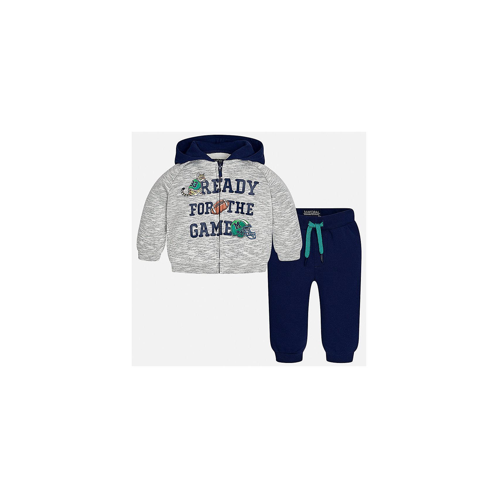 Спортивный костюм Mayoral для мальчикаКомплекты<br>Характеристики товара:<br><br>• цвет: серый<br>• состав ткани: 60% хлопок, 40% полиэстер<br>• комплектация: куртка, брюки<br>• сезон: демисезон<br>• особенности модели: спортивный стиль<br>• застежка: молния<br>• длинные рукава<br>• пояс брюк: резинка, шнурок<br>• страна бренда: Испания<br>• страна изготовитель: Индия<br><br>Детский костюм для спорта отличается стильным и продуманным дизайном. В спортивном костюме для мальчика от испанской компании Mayoral ребенок будет выглядеть модно, а чувствовать себя - комфортно. Этот спортивный костюм для мальчика от Майорал поможет обеспечить ребенку комфорт. <br><br>Спортивный костюм для мальчика Mayoral (Майорал) можно купить в нашем интернет-магазине.<br><br>Ширина мм: 247<br>Глубина мм: 16<br>Высота мм: 140<br>Вес г: 225<br>Цвет: белый<br>Возраст от месяцев: 24<br>Возраст до месяцев: 36<br>Пол: Мужской<br>Возраст: Детский<br>Размер: 98,74,80,86,92<br>SKU: 6935504