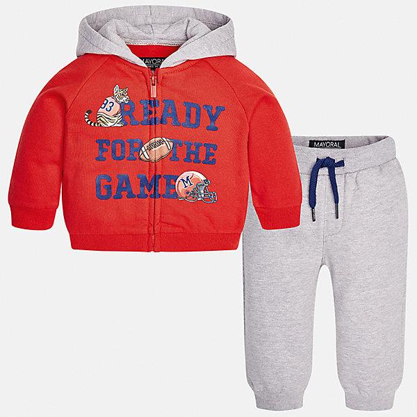 Спортивный костюм для мальчика MayoralКомплекты<br>Характеристики товара:<br><br>• цвет: красный<br>• состав ткани: 60% хлопок, 40% полиэстер<br>• комплектация: куртка, брюки<br>• сезон: демисезон<br>• особенности модели: спортивный стиль<br>• застежка: молния<br>• длинные рукава<br>• пояс брюк: резинка, шнурок<br>• страна бренда: Испания<br>• страна изготовитель: Индия<br><br>Яркий детский комплект из спортивной курточки и брюк подойдет для занятий спортом. Отличный способ обеспечить ребенку тепло и комфорт - надеть детский спортивный костюм от Mayoral. Детский спортивный костюм сшит из приятного на ощупь материала. Спортивный костюм для мальчика Mayoral удобно сидит по фигуре.<br><br>Спортивный костюм для мальчика Mayoral (Майорал) можно купить в нашем интернет-магазине.<br>Ширина мм: 247; Глубина мм: 16; Высота мм: 140; Вес г: 225; Цвет: красный; Возраст от месяцев: 24; Возраст до месяцев: 36; Пол: Мужской; Возраст: Детский; Размер: 98,80,74,86,92; SKU: 6935510;