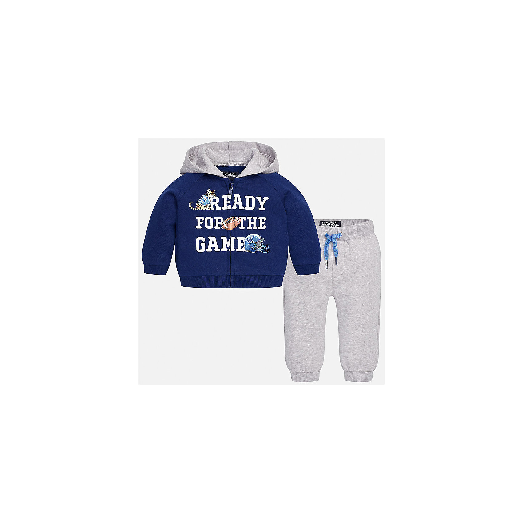 Спортивный костюм для мальчика MayoralКомплекты<br>Характеристики товара:<br><br>• цвет: синий/серый<br>• состав ткани: 60% хлопок, 40% полиэстер<br>• комплектация: куртка, 2 брюк<br>• сезон: демисезон<br>• особенности модели: спортивный стиль<br>• застежка: молния<br>• длинные рукава<br>• пояс брюк: резинка, шнурок<br>• страна бренда: Испания<br>• страна изготовитель: Индия<br><br>Этот спортивный костюм для мальчика сделан из плотного приятного на ощупь материала. Такой детский спортивный комплект состоит из курточки и двух брюк. Благодаря продуманному крою детского спортивного костюма создаются комфортные условия для тела. Спортивный комплект для мальчика отличается стильным продуманным дизайном.<br><br>Спортивный костюм для мальчика Mayoral (Майорал) можно купить в нашем интернет-магазине.<br><br>Ширина мм: 247<br>Глубина мм: 16<br>Высота мм: 140<br>Вес г: 225<br>Цвет: сине-серый<br>Возраст от месяцев: 24<br>Возраст до месяцев: 36<br>Пол: Мужской<br>Возраст: Детский<br>Размер: 98,74,80,86,92<br>SKU: 6935516