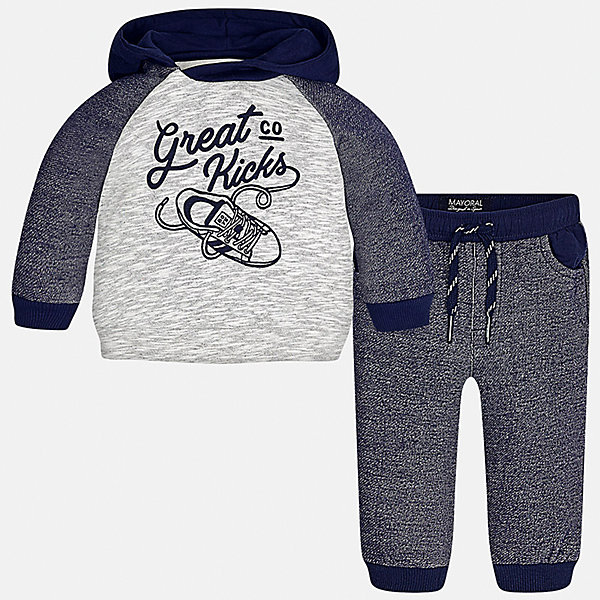 Спортивный костюм для мальчика MayoralСпортивная одежда<br>Характеристики товара:<br><br>• цвет: синий<br>• состав ткани: куртка - 76% хлопок, 24% полиэстер, брюки - 100% хлопок<br>• комплектация: куртка, брюки<br>• сезон: демисезон<br>• особенности модели: спортивный стиль<br>• капюшон<br>• длинные рукава<br>• пояс брюк: резинка, шнурок<br>• страна бренда: Испания<br>• страна изготовитель: Индия<br><br>Практичный детский костюм для спорта отличается стильным и продуманным дизайном. В спортивном костюме для мальчика от испанской компании Mayoral ребенок будет выглядеть модно, а чувствовать себя - комфортно. Этот спортивный костюм для мальчика от Майорал поможет обеспечить ребенку комфорт. <br><br>Спортивный костюм для мальчика Mayoral (Майорал) можно купить в нашем интернет-магазине.<br><br>Ширина мм: 247<br>Глубина мм: 16<br>Высота мм: 140<br>Вес г: 225<br>Цвет: синий<br>Возраст от месяцев: 12<br>Возраст до месяцев: 18<br>Пол: Мужской<br>Возраст: Детский<br>Размер: 86,92,98,74,80<br>SKU: 6935522