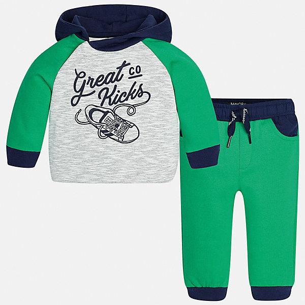 Спортивный костюм для мальчика MayoralКомплекты<br>Характеристики товара:<br><br>• цвет: зеленый<br>• состав ткани: куртка - 76% хлопок, 24% полиэстер, брюки - 100% хлопок<br>• комплектация: куртка, брюки<br>• сезон: демисезон<br>• особенности модели: спортивный стиль<br>• капюшон<br>• длинные рукава<br>• пояс брюк: резинка, шнурок<br>• страна бренда: Испания<br>• страна изготовитель: Индия<br><br>Стильный детский комплект из спортивной курточки и брюк подойдет для занятий спортом. Отличный способ обеспечить ребенку тепло и комфорт - надеть детский спортивный костюм от Mayoral. Детский спортивный костюм сшит из приятного на ощупь материала. Спортивный костюм для мальчика Mayoral удобно сидит по фигуре.<br><br>Спортивный костюм для мальчика Mayoral (Майорал) можно купить в нашем интернет-магазине.<br>Ширина мм: 247; Глубина мм: 16; Высота мм: 140; Вес г: 225; Цвет: зеленый; Возраст от месяцев: 6; Возраст до месяцев: 9; Пол: Мужской; Возраст: Детский; Размер: 74,98,92,86,80; SKU: 6935528;