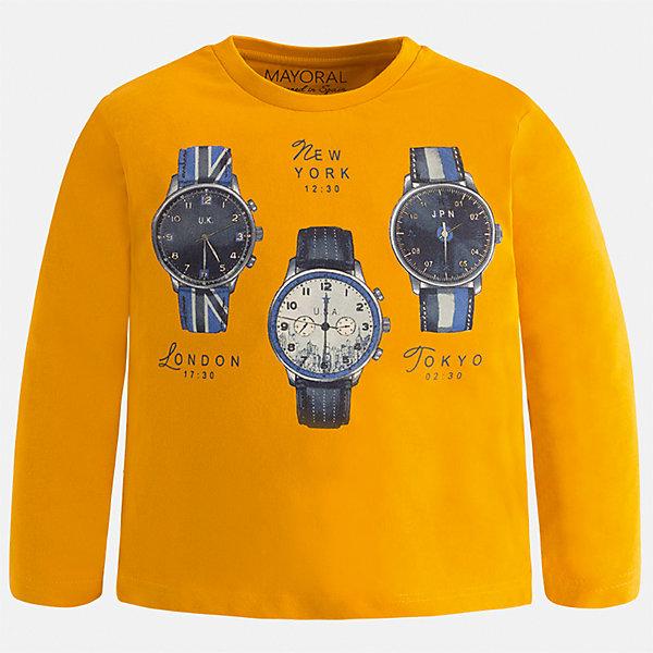 Футболка с длинным рукавом Mayoral для мальчикаФутболки с длинным рукавом<br>Характеристики товара:<br><br>• цвет: оранжевый<br>• состав ткани: 100% хлопок<br>• сезон: демисезон<br>• особенности модели: принт<br>• длинные рукава<br>• страна бренда: Испания<br>• страна изготовитель: Индия<br><br>Оригинальный лонгслив с принтом для мальчика Mayoral удобно сидит по фигуре. Стильный детский лонгслив сделан из натуральной хлопковой ткани. Отличный способ обеспечить ребенку тепло и комфорт - надеть детский лонгслив от Mayoral. Детская футболка с длинным рукавом сшита из приятного на ощупь материала. <br><br>Лонгслив для мальчика Mayoral (Майорал) можно купить в нашем интернет-магазине.<br><br>Ширина мм: 230<br>Глубина мм: 40<br>Высота мм: 220<br>Вес г: 250<br>Цвет: оранжевый<br>Возраст от месяцев: 96<br>Возраст до месяцев: 108<br>Пол: Мужской<br>Возраст: Детский<br>Размер: 134,92,98,104,110,116,122,128<br>SKU: 6935549