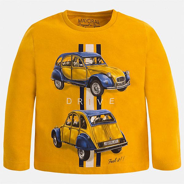 Футболка с длинным рукавом Mayoral для мальчикаФутболки с длинным рукавом<br>Характеристики товара:<br><br>• цвет: оранжевый<br>• состав ткани: 100% хлопок<br>• сезон: демисезон<br>• особенности модели: принт<br>• длинные рукава<br>• страна бренда: Испания<br>• страна изготовитель: Индия<br><br>Стильный детский лонгслив сделан из натуральной хлопковой ткани. Отличный способ обеспечить ребенку тепло и комфорт - надеть детский лонгслив от Mayoral. Оригинальный лонгслив с принтом для мальчика Mayoral удобно сидит по фигуре. Детская футболка с длинным рукавом сшита из приятного на ощупь материала. <br><br>Лонгслив для мальчика Mayoral (Майорал) можно купить в нашем интернет-магазине.<br><br>Ширина мм: 230<br>Глубина мм: 40<br>Высота мм: 220<br>Вес г: 250<br>Цвет: оранжевый<br>Возраст от месяцев: 84<br>Возраст до месяцев: 96<br>Пол: Мужской<br>Возраст: Детский<br>Размер: 128,110,116,122,134,92,98,104<br>SKU: 6935603
