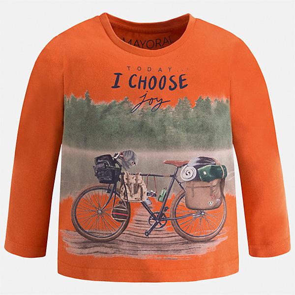 Футболка с длинным рукавом Mayoral для мальчикаФутболки с длинным рукавом<br>Характеристики товара:<br><br>• цвет: оранжевый<br>• состав ткани: 100% хлопок<br>• сезон: демисезон<br>• особенности модели: принт<br>• длинные рукава<br>• страна бренда: Испания<br>• страна изготовитель: Индия<br><br>Яркий детский лонгслив сделан из натуральной хлопковой ткани. Отличный способ обеспечить ребенку тепло и комфорт - надеть детский лонгслив от Mayoral. Оригинальный лонгслив с принтом для мальчика Mayoral удобно сидит по фигуре. Детская футболка с длинным рукавом сшита из приятного на ощупь материала. <br><br>Лонгслив для мальчика Mayoral (Майорал) можно купить в нашем интернет-магазине.<br>Ширина мм: 230; Глубина мм: 40; Высота мм: 220; Вес г: 250; Цвет: оранжевый; Возраст от месяцев: 18; Возраст до месяцев: 24; Пол: Мужской; Возраст: Детский; Размер: 92,134,128,122,116,110,104,98; SKU: 6935711;