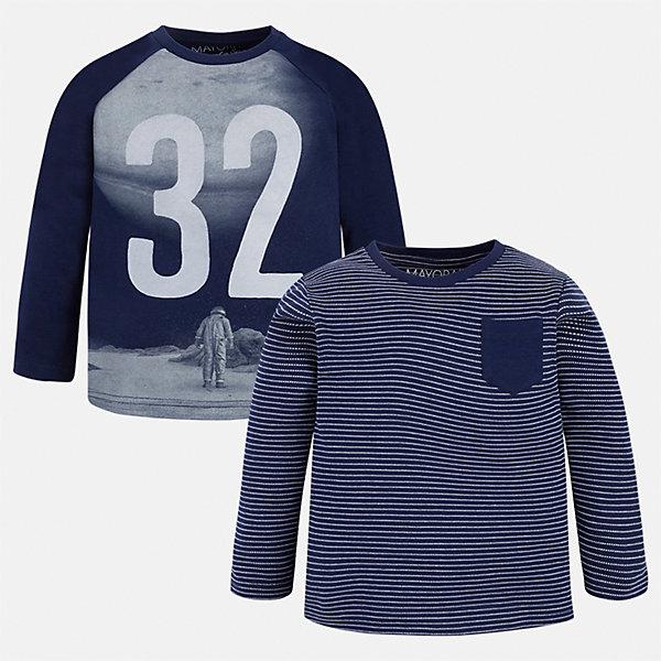 Футболка с длинным рукавом (2 шт.) Mayoral для мальчикаФутболки с длинным рукавом<br>Характеристики товара:<br><br>• цвет: синий<br>• состав ткани: 100% хлопок<br>• комплектация: 2 шт<br>• сезон: демисезон<br>• особенности модели: принт<br>• длинные рукава<br>• страна бренда: Испания<br>• страна изготовитель: Индия<br><br>Стильный комплект лонгсливов для мальчика от Майорал поможет обеспечить ребенку комфорт. Детский лонгслив с принтом отличается стильным и продуманным дизайном. В футболке с длинным рукавом для мальчика от испанской компании Майорал ребенок будет выглядеть модно, а чувствовать себя - комфортно. <br><br>Лонгслив (2 шт.) для мальчика Mayoral (Майорал) можно купить в нашем интернет-магазине.<br>Ширина мм: 230; Глубина мм: 40; Высота мм: 220; Вес г: 250; Цвет: синий; Возраст от месяцев: 72; Возраст до месяцев: 84; Пол: Мужской; Возраст: Детский; Размер: 122,92,128,134,98,104,110,116; SKU: 6935775;