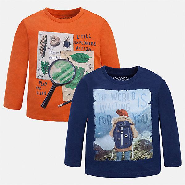 Футболка с длинным рукавом (2 шт.) Mayoral для мальчикаФутболки с длинным рукавом<br>Характеристики товара:<br><br>• цвет: синий/оранжевый<br>• состав ткани: 100% хлопок<br>• комплектация: 2 шт<br>• сезон: демисезон<br>• особенности модели: принт<br>• длинные рукава<br>• страна бренда: Испания<br>• страна изготовитель: Индия<br><br>Стильный комплект лонгсливов для мальчика от Майорал поможет обеспечить ребенку комфорт. Детский лонгслив с принтом отличается стильным и продуманным дизайном. В футболке с длинным рукавом для мальчика от испанской компании Майорал ребенок будет выглядеть модно, а чувствовать себя - комфортно. <br><br>Лонгслив (2 шт.) для мальчика Mayoral (Майорал) можно купить в нашем интернет-магазине.<br><br>Ширина мм: 230<br>Глубина мм: 40<br>Высота мм: 220<br>Вес г: 250<br>Цвет: синий/оранжевый<br>Возраст от месяцев: 60<br>Возраст до месяцев: 72<br>Пол: Мужской<br>Возраст: Детский<br>Размер: 116,134,128,122,110,104,98,92<br>SKU: 6935909