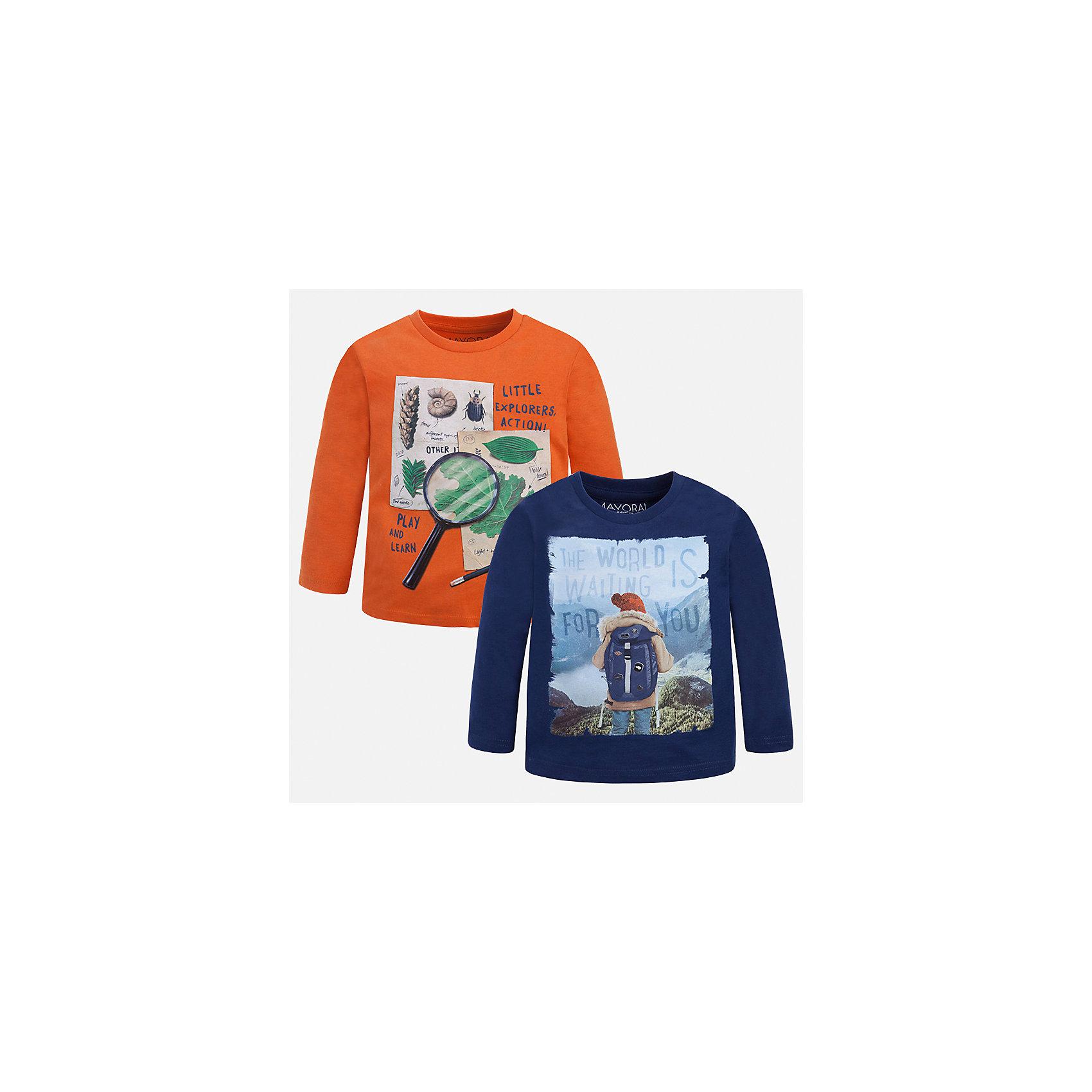 Футболка с длинным рукавом (2 шт.) Mayoral для мальчикаФутболки с длинным рукавом<br>Характеристики товара:<br><br>• цвет: синий<br>• состав ткани: 100% хлопок<br>• комплектация: 2 шт<br>• сезон: демисезон<br>• особенности модели: принт<br>• длинные рукава<br>• страна бренда: Испания<br>• страна изготовитель: Индия<br><br>Стильный комплект лонгсливов для мальчика от Майорал поможет обеспечить ребенку комфорт. Детский лонгслив с принтом отличается стильным и продуманным дизайном. В футболке с длинным рукавом для мальчика от испанской компании Майорал ребенок будет выглядеть модно, а чувствовать себя - комфортно. <br><br>Лонгслив (2 шт.) для мальчика Mayoral (Майорал) можно купить в нашем интернет-магазине.<br><br>Ширина мм: 230<br>Глубина мм: 40<br>Высота мм: 220<br>Вес г: 250<br>Цвет: белый<br>Возраст от месяцев: 48<br>Возраст до месяцев: 60<br>Пол: Мужской<br>Возраст: Детский<br>Размер: 110,122,128,134,116,92,98,104<br>SKU: 6935909