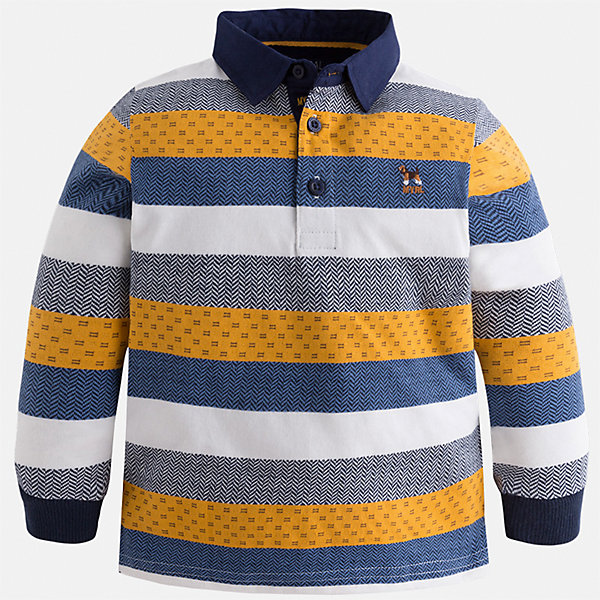 Футболка-поло с длинным рукавом для мальчика MayoralФутболки с длинным рукавом<br>Характеристики товара:<br><br>• цвет: оранжевый<br>• состав ткани: 100% хлопок<br>• сезон: демисезон<br>• особенности модели: отложной воротник<br>• застежка: пуговицы<br>• длинные рукава<br>• страна бренда: Испания<br>• страна изготовитель: Индия<br><br>Полосатая детская футболка-поло с длинным рукавом сделана из дышащего приятного на ощупь материала. Благодаря продуманному крою детской футболки-поло создаются комфортные условия для тела. Футболка-поло с длинным рукавом для мальчика отличается стильным продуманным дизайном.<br><br>Футболку-поло с длинным рукавом для мальчика Mayoral (Майорал) можно купить в нашем интернет-магазине.<br><br>Ширина мм: 230<br>Глубина мм: 40<br>Высота мм: 220<br>Вес г: 250<br>Цвет: оранжевый<br>Возраст от месяцев: 18<br>Возраст до месяцев: 24<br>Пол: Мужской<br>Возраст: Детский<br>Размер: 92,134,128,122,116,110,104,98<br>SKU: 6936043