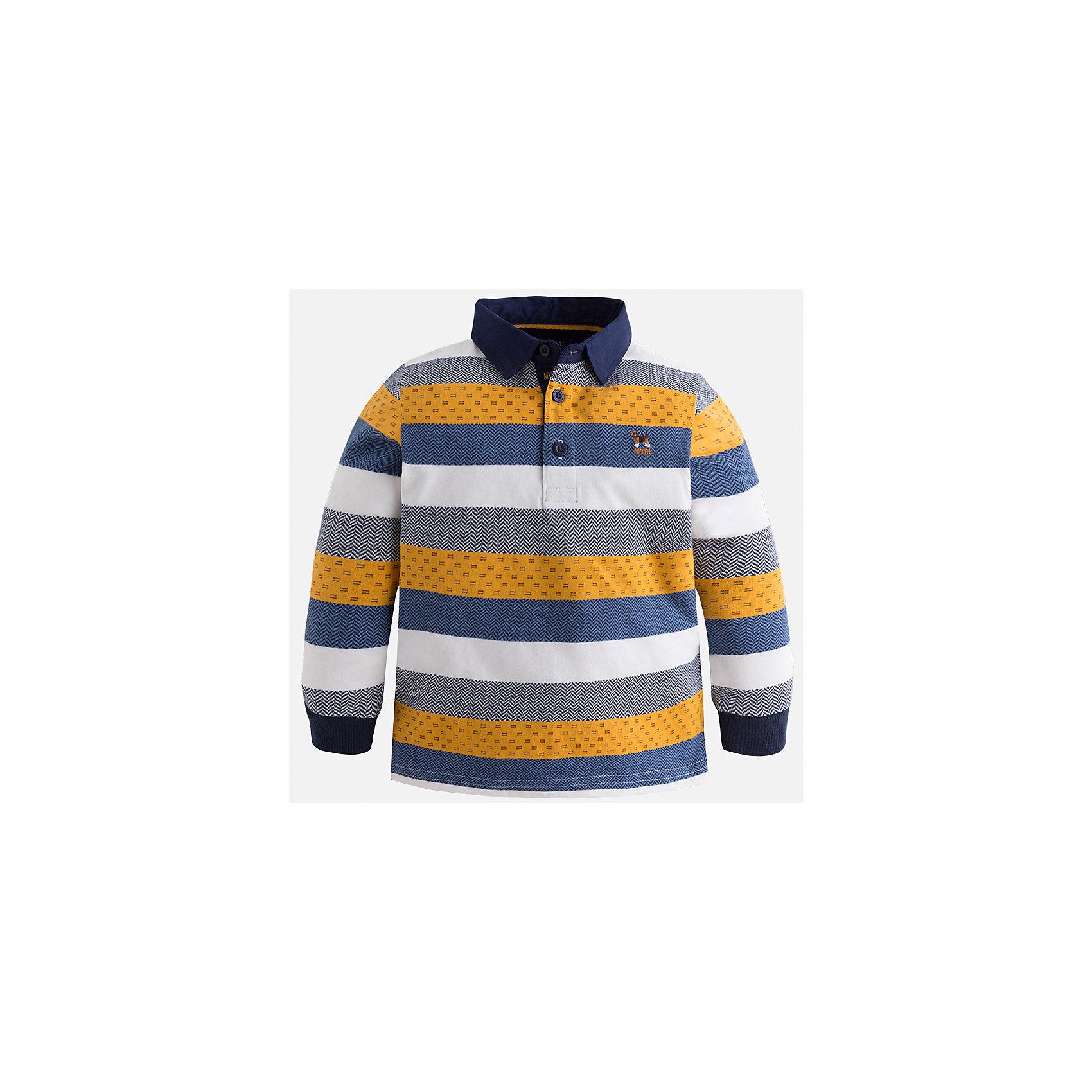 Футболка-поло с длинным рукавом для мальчика MayoralФутболки с длинным рукавом<br>Характеристики товара:<br><br>• цвет: оранжевый<br>• состав ткани: 100% хлопок<br>• сезон: демисезон<br>• особенности модели: отложной воротник<br>• застежка: пуговицы<br>• длинные рукава<br>• страна бренда: Испания<br>• страна изготовитель: Индия<br><br>Полосатая детская футболка-поло с длинным рукавом сделана из дышащего приятного на ощупь материала. Благодаря продуманному крою детской футболки-поло создаются комфортные условия для тела. Футболка-поло с длинным рукавом для мальчика отличается стильным продуманным дизайном.<br><br>Футболку-поло с длинным рукавом для мальчика Mayoral (Майорал) можно купить в нашем интернет-магазине.<br><br>Ширина мм: 230<br>Глубина мм: 40<br>Высота мм: 220<br>Вес г: 250<br>Цвет: оранжевый<br>Возраст от месяцев: 96<br>Возраст до месяцев: 108<br>Пол: Мужской<br>Возраст: Детский<br>Размер: 134,92,98,104,110,116,122,128<br>SKU: 6936043