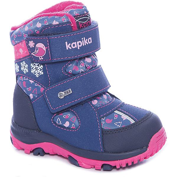 Ботинки Kapika для девочкиБотинки<br>Характеристики товара:<br><br>• цвет: синий<br>• внешний материал: текстиль, искусственная кожа<br>• внутренний материал: шерсть, текстиль<br>• стелька: натуральная кожа<br>• подошва: ТЭП<br>• сезон: зима<br>• мембранные<br>• температурный режим: от -25 до 0<br>• защита мыса<br>• застежка: липучки<br>• подошва не скользит <br>• анатомические <br>• высокие<br>• страна бренда: Россия<br>• страна изготовитель: Китай<br><br>Модные высокие ботинки для девочки Kapika сделаны из прочного материала. Детские зимние ботинки с мембраной имеют усиленный мыс и устойчивую подошву.<br><br>Модель поможет обеспечить ногам тепло и комфорт даже в сильные морозы. Обувь для детей Капика - это качественные и удобные товары.<br><br>Ботинки для девочки Kapika (Капика) можно купить в нашем интернет-магазине.<br><br>Ширина мм: 262<br>Глубина мм: 176<br>Высота мм: 97<br>Вес г: 427<br>Цвет: синий<br>Возраст от месяцев: 24<br>Возраст до месяцев: 24<br>Пол: Женский<br>Возраст: Детский<br>Размер: 25,27,26,24,23<br>SKU: 6936673