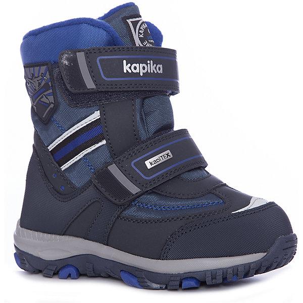 Ботинки Kapika для мальчикаБотинки<br>Характеристики товара:<br><br>• цвет: синий<br>• внешний материал: текстиль, искусственная кожа<br>• внутренний материал: шерсть, текстиль<br>• стелька: натуральная кожа<br>• подошва: ТЭП, ЭВА<br>• сезон: зима<br>• мембранные<br>• температурный режим: от -25 до 0<br>• защита мыса<br>• застежка: липучки<br>• подошва не скользит <br>• анатомические <br>• высокие<br>• страна бренда: Россия<br>• страна изготовитель: Китай<br><br>Зимние детские ботинки созданы по мембранной технологии. Теплые высокие ботинки для мальчика Kapika сделаны из прочного материала, подходят даже для сильных морозов.<br><br>Обувь для детей от популярного бренда Капика - это качественные и удобные товары. Модель поможет обеспечить ногам тепло и комфорт в холодный сезон. <br><br>Ботинки для мальчика Kapika (Капика) можно купить в нашем интернет-магазине.<br>Ширина мм: 262; Глубина мм: 176; Высота мм: 97; Вес г: 427; Цвет: синий; Возраст от месяцев: 72; Возраст до месяцев: 84; Пол: Мужской; Возраст: Детский; Размер: 30,28,32,31,29; SKU: 6936745;