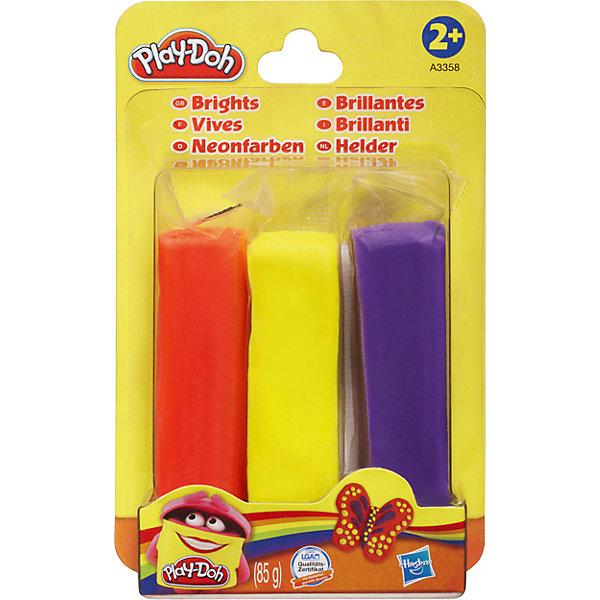 Набор пластилина, 3 цвета, A3357/A3358, Play-Doh, HasbroПластилин<br>Характеристики товара:<br><br>• возраст: от 2 лет;<br>• в комплекте: 3 бруска пластилина;<br>• размер упаковки: 14,1х8,9х2,5 см;<br>• вес упаковки: 124 гр.;<br>• страна производитель: Китай.<br><br>Набор пластилина Play-Doh Hasbro 3 цвета — набор для детского творчества, занятий лепкой. Лепка из пластилина развивает у детей мелкую моторику рук, усидчивость, фантазию. Пластилин Play-Doh содержит только пищевые компоненты, безопасные для ребенка. Он легко принимает любую форму, не липнет к рукам и одежде, не оставляет следов.<br><br>Набор пластилина Play-Doh Hasbro 3 цвета можно приобрести в нашем интернет-магазине.<br><br>Ширина мм: 25<br>Глубина мм: 89<br>Высота мм: 141<br>Вес г: 124<br>Возраст от месяцев: 24<br>Возраст до месяцев: 2147483647<br>Пол: Унисекс<br>Возраст: Детский<br>SKU: 6938302