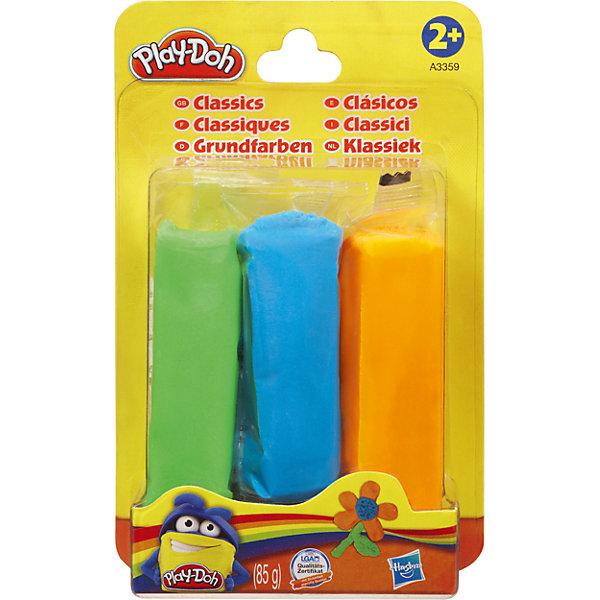 Набор пластилина, 3 цвета, A3357/A3359, Play-Doh, HasbroПластилин<br>Характеристики товара:<br><br>• возраст: от 2 лет;<br>• в комплекте: 3 бруска пластилина;<br>• размер упаковки: 14,1х8,9х2,5 см;<br>• вес упаковки: 124 гр.;<br>• страна производитель: Китай;<br>• товар представлен в ассортименте.<br><br>Набор пластилина Play-Doh Hasbro 3 цвета — набор для детского творчества, занятий лепкой. Лепка из пластилина развивает у детей мелкую моторику рук, усидчивость, фантазию. Пластилин Play-Doh содержит только пищевые компоненты, безопасные для ребенка. Он легко принимает любую форму, не липнет к рукам и одежде, не оставляет следов.<br><br>Набор пластилина Play-Doh Hasbro 3 цвета в ассортименте можно приобрести в нашем интернет-магазине.<br><br>Ширина мм: 25<br>Глубина мм: 89<br>Высота мм: 141<br>Вес г: 124<br>Возраст от месяцев: 24<br>Возраст до месяцев: 2147483647<br>Пол: Унисекс<br>Возраст: Детский<br>SKU: 6938303